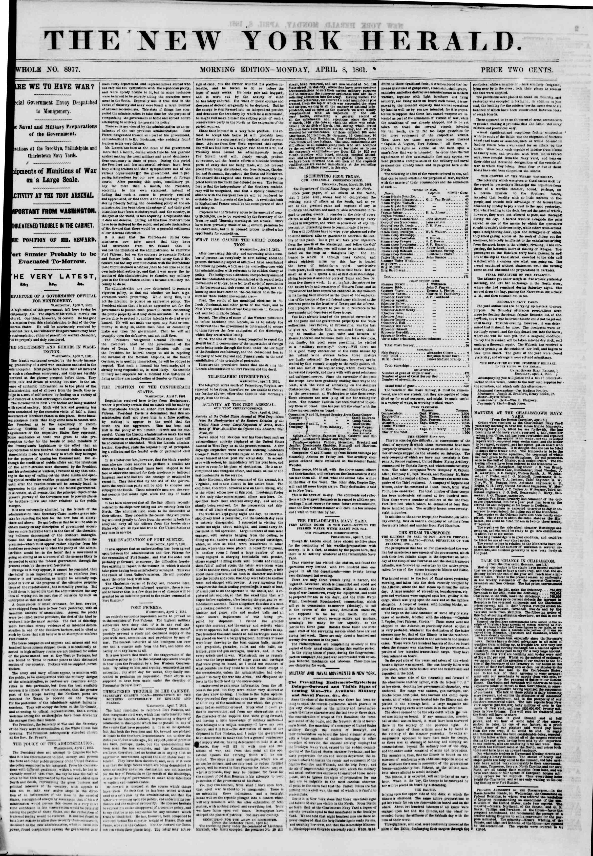 Newspaper of The New York Herald dated April 8, 1861 Page 1