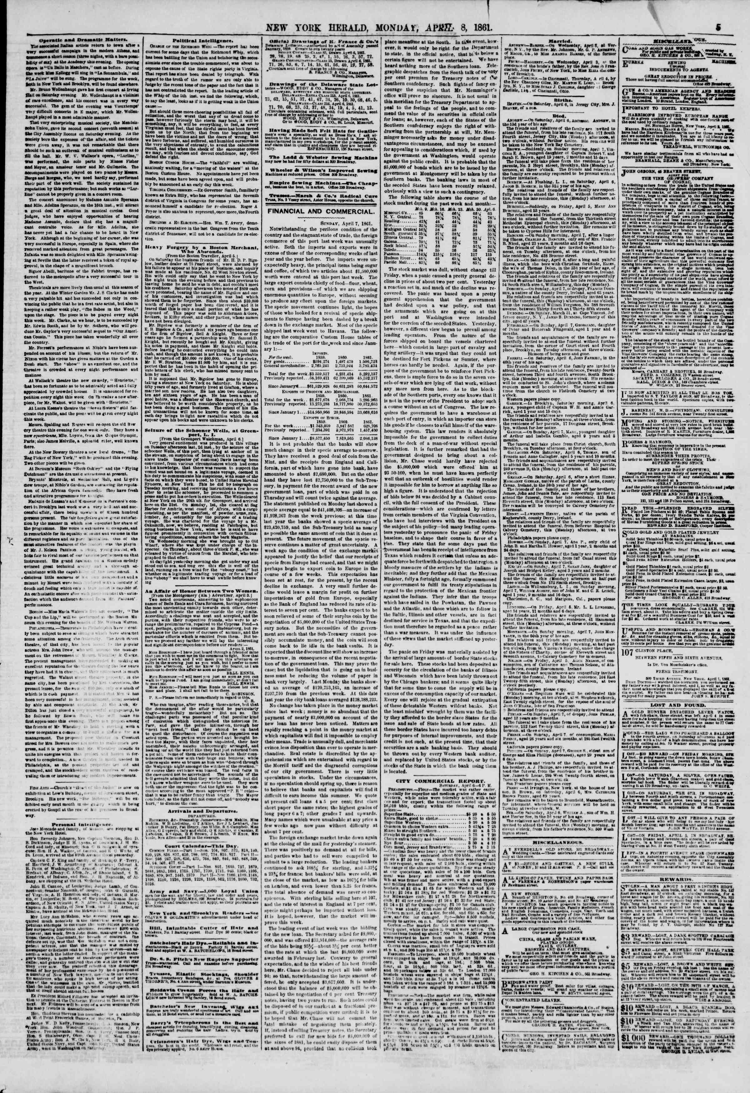 Newspaper of The New York Herald dated April 8, 1861 Page 5