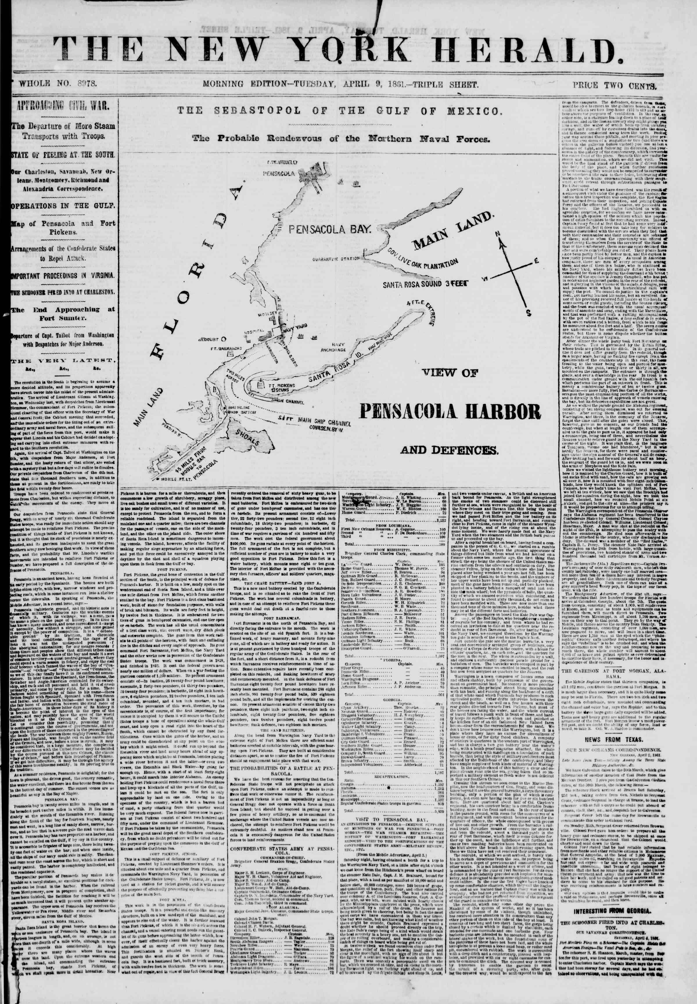 Newspaper of The New York Herald dated April 9, 1861 Page 1