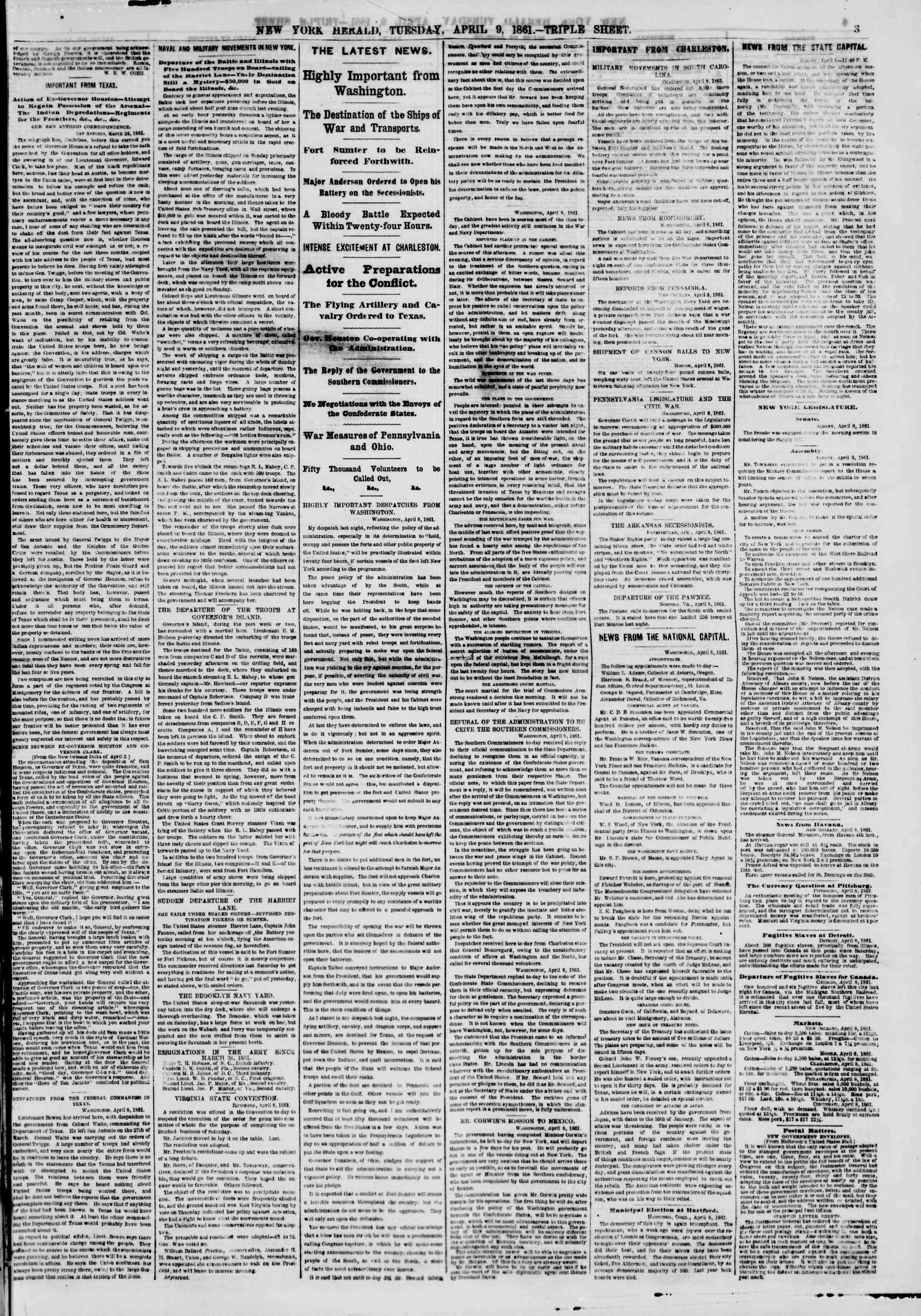 Newspaper of The New York Herald dated April 9, 1861 Page 3