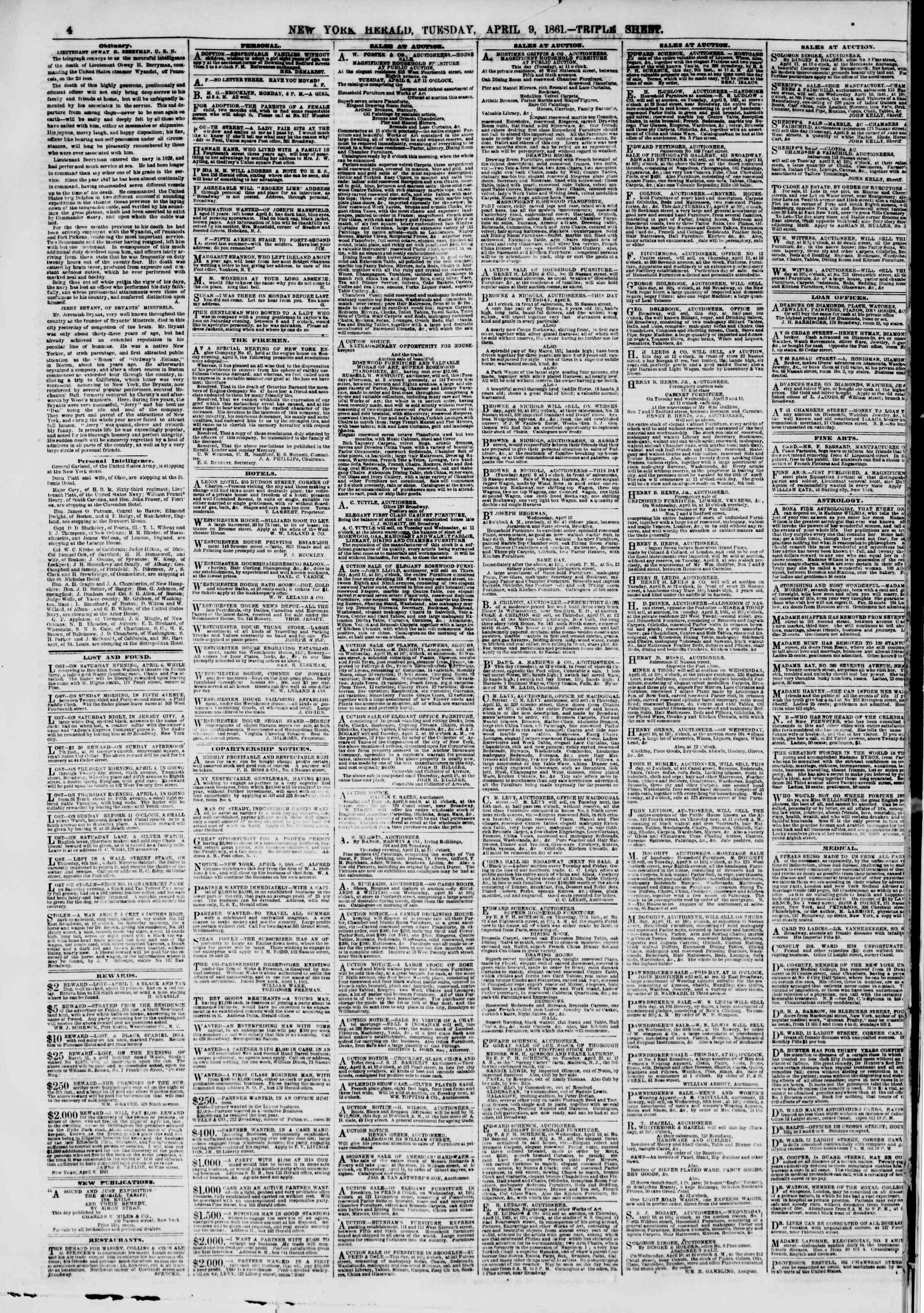 Newspaper of The New York Herald dated April 9, 1861 Page 4
