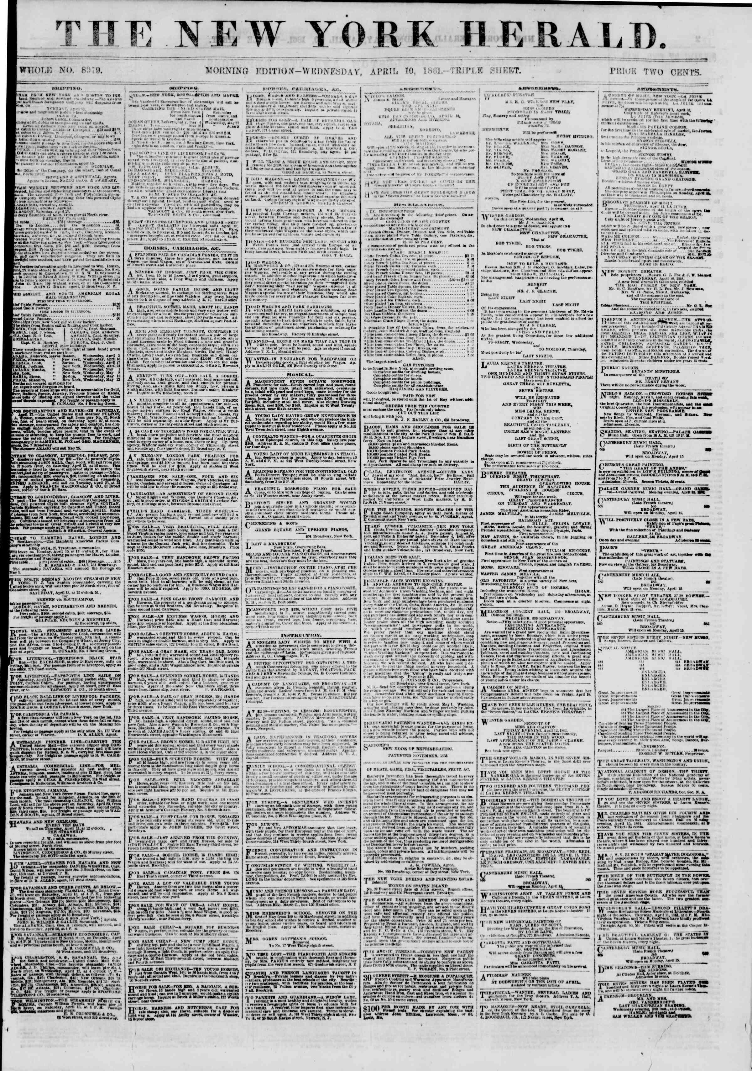 Newspaper of The New York Herald dated April 10, 1861 Page 1