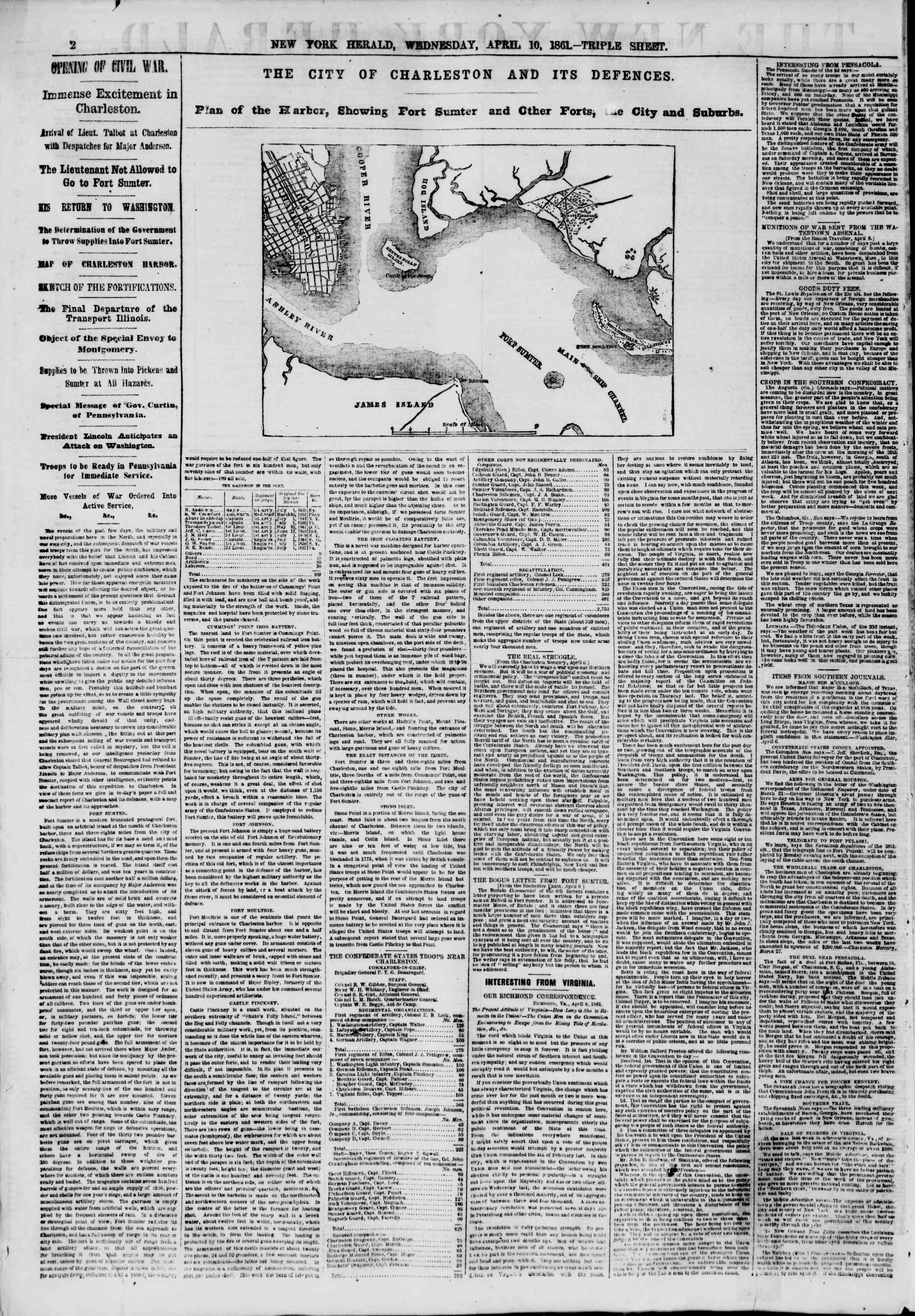Newspaper of The New York Herald dated April 10, 1861 Page 2