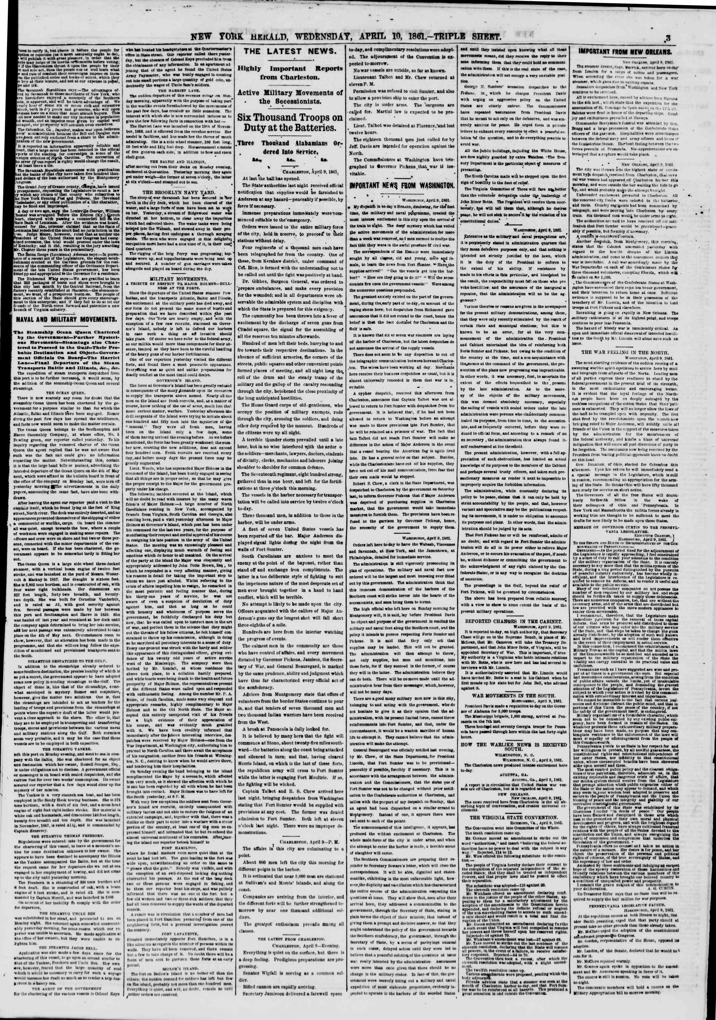 Newspaper of The New York Herald dated April 10, 1861 Page 3
