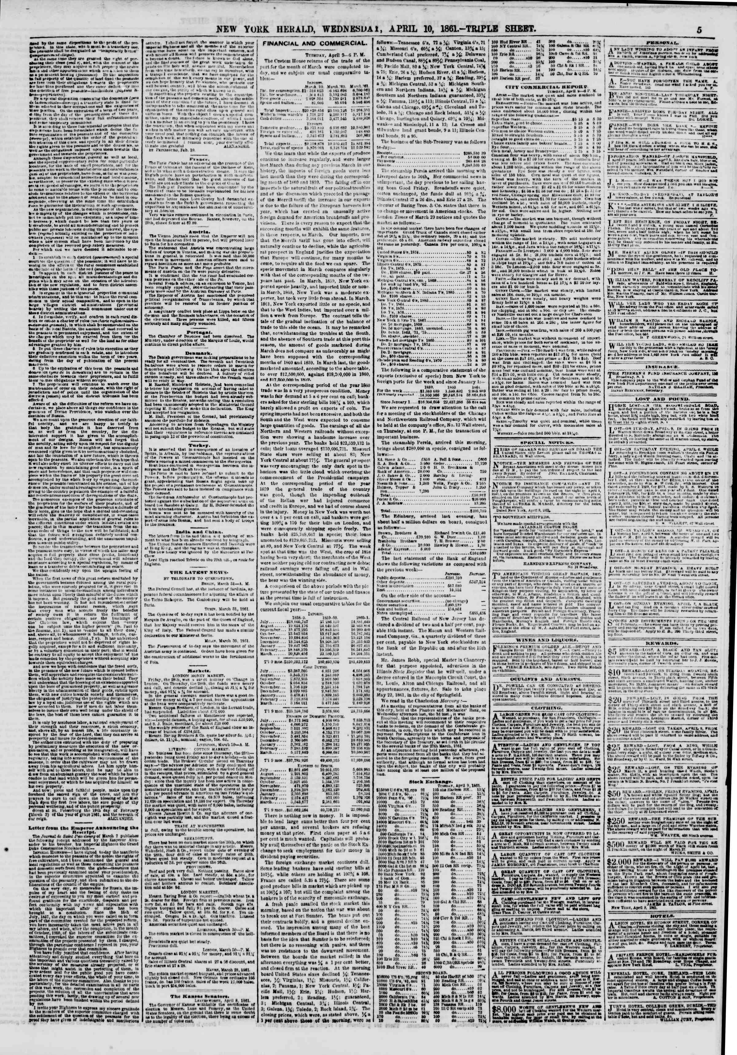 Newspaper of The New York Herald dated April 10, 1861 Page 5