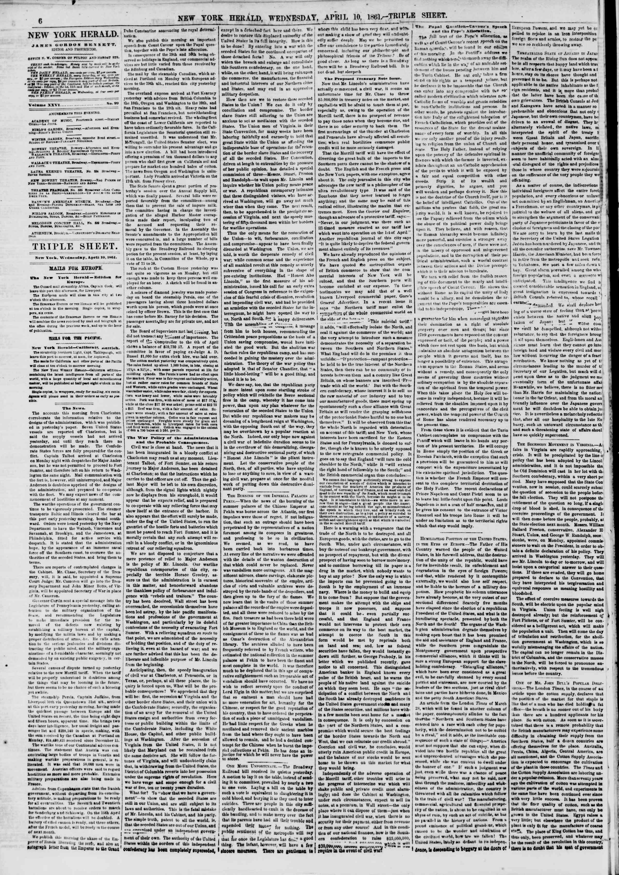 Newspaper of The New York Herald dated April 10, 1861 Page 6