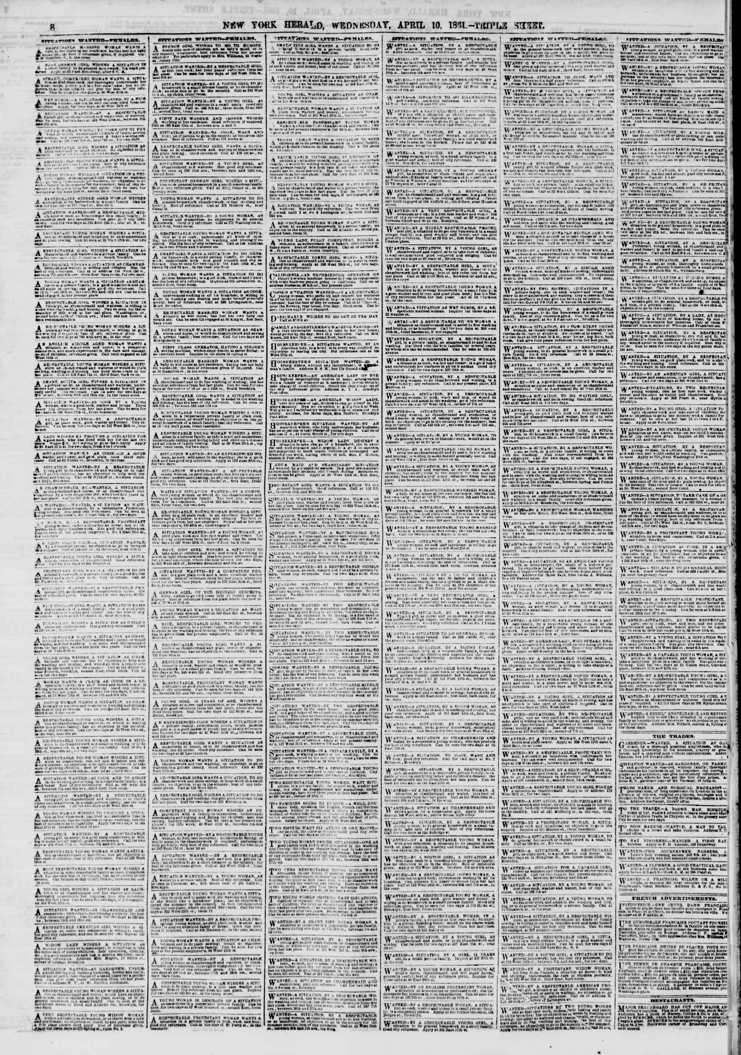 Newspaper of The New York Herald dated April 10, 1861 Page 8
