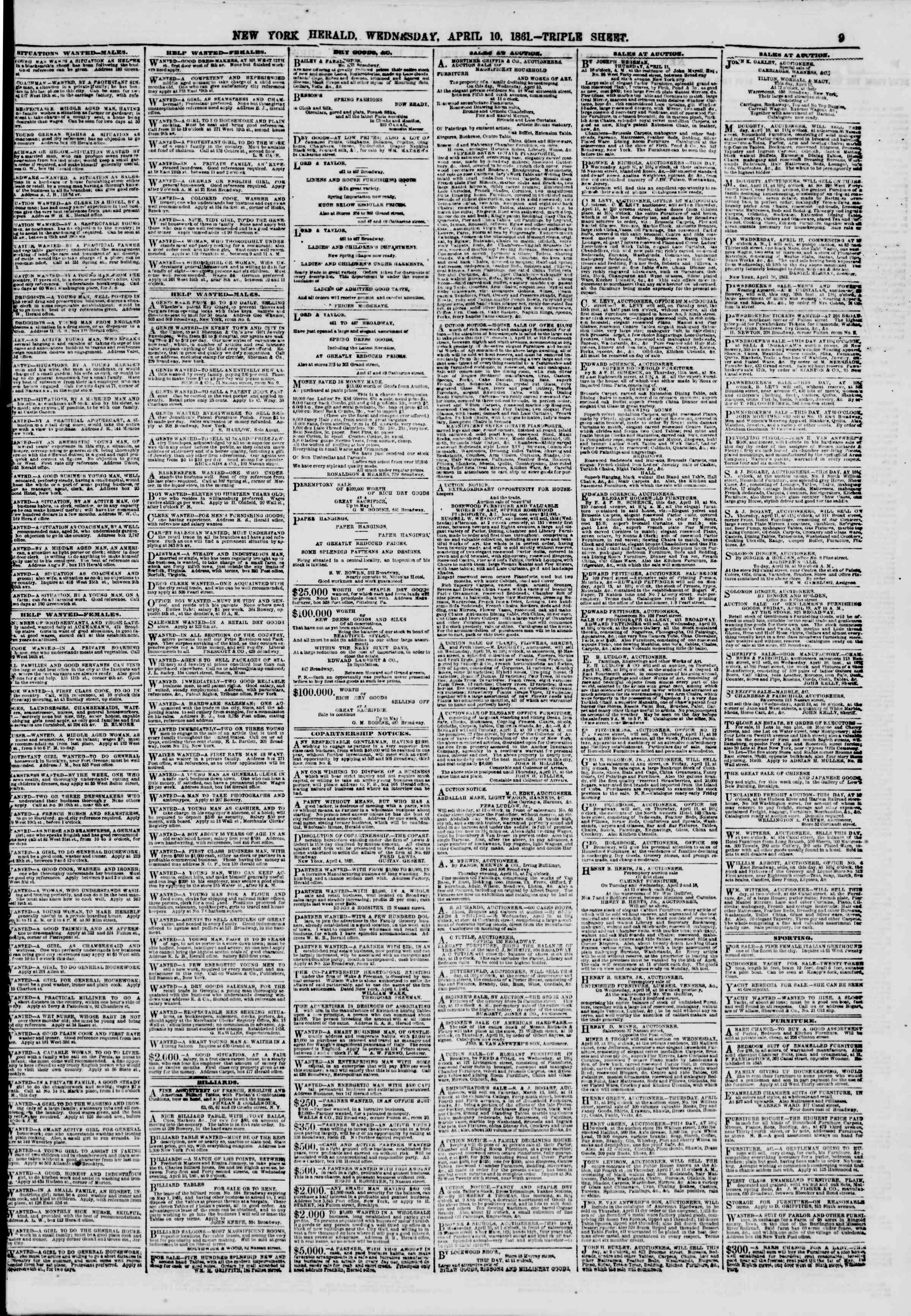 Newspaper of The New York Herald dated April 10, 1861 Page 9