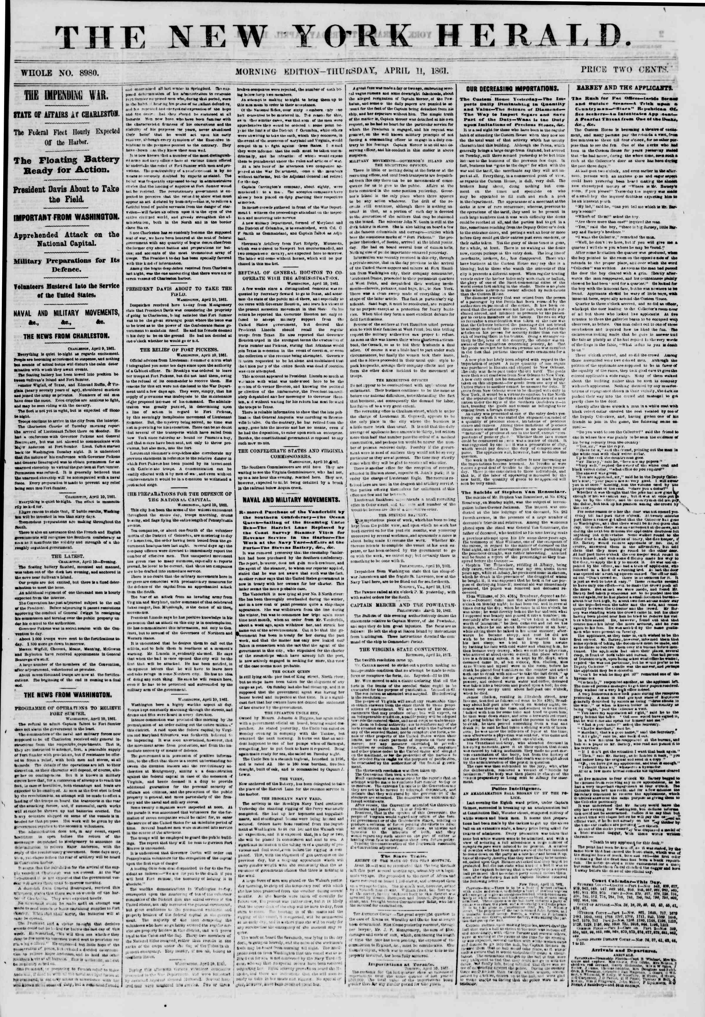 Newspaper of The New York Herald dated April 11, 1861 Page 1