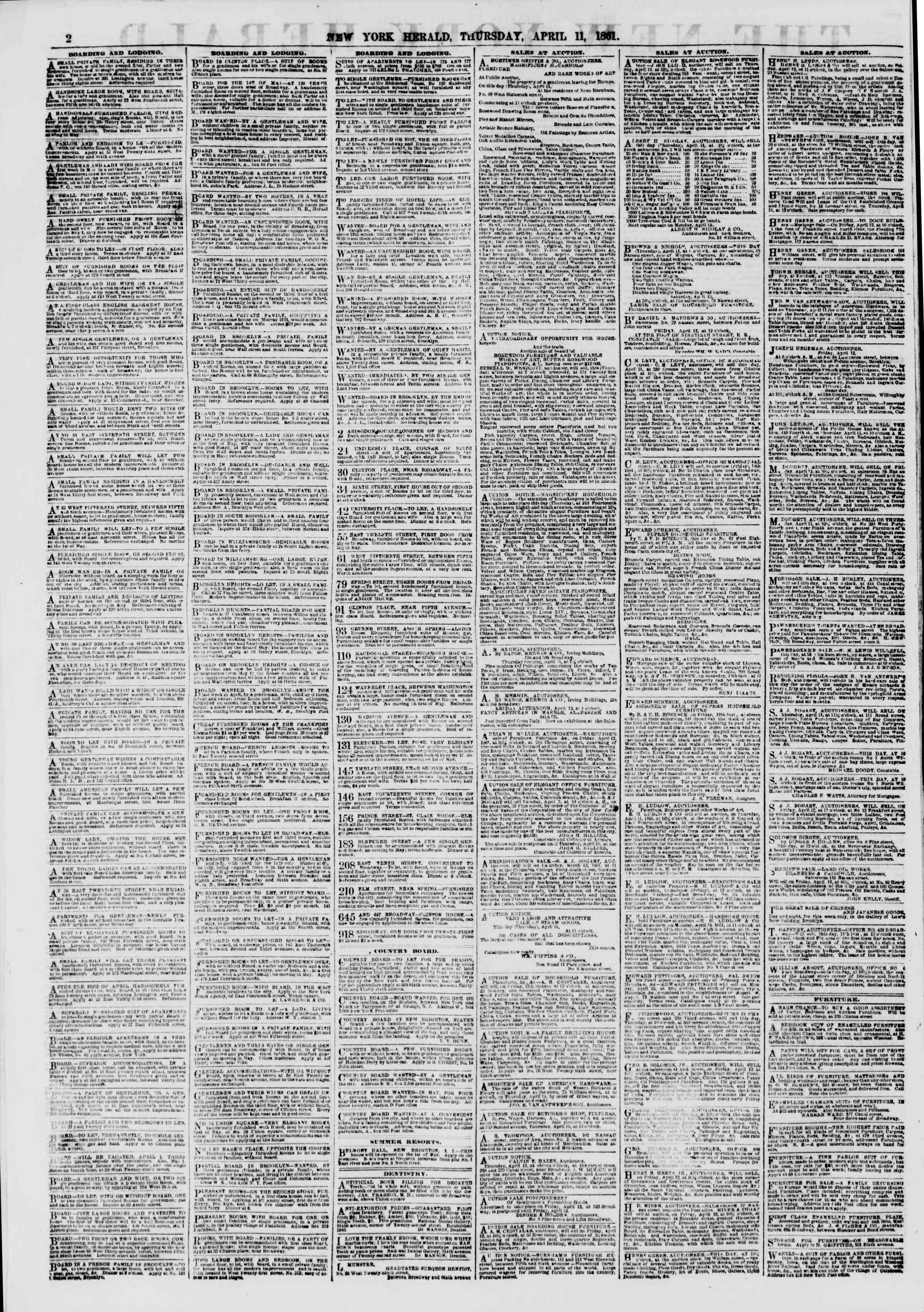 Newspaper of The New York Herald dated April 11, 1861 Page 2