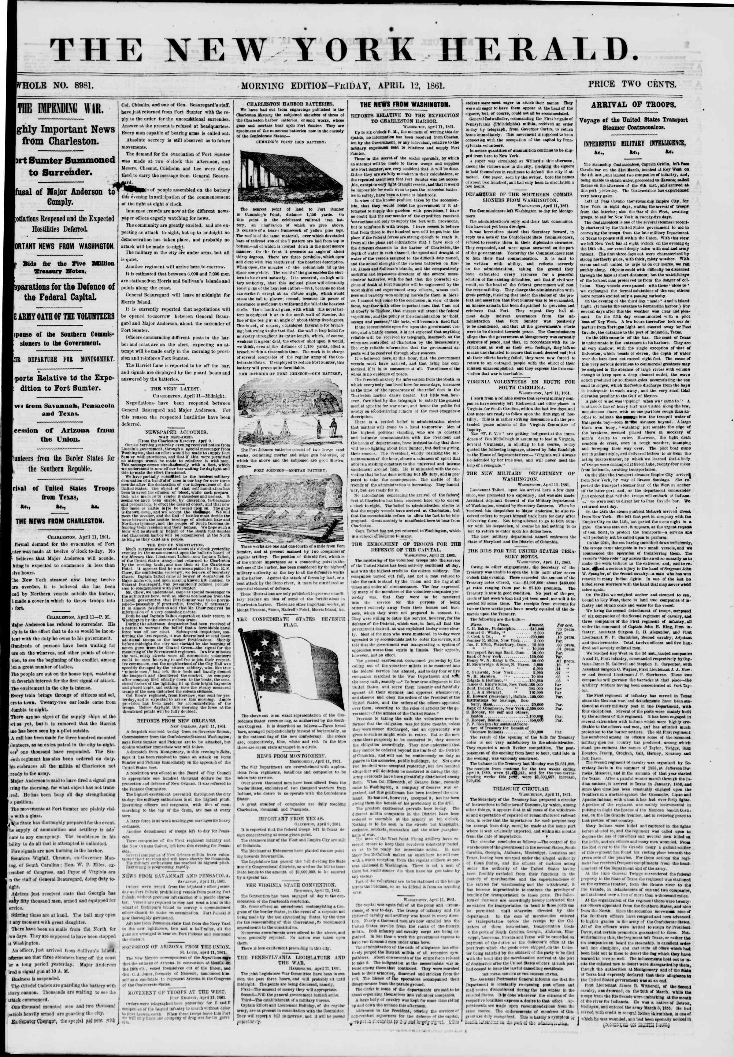 Newspaper of The New York Herald dated April 12, 1861 Page 1