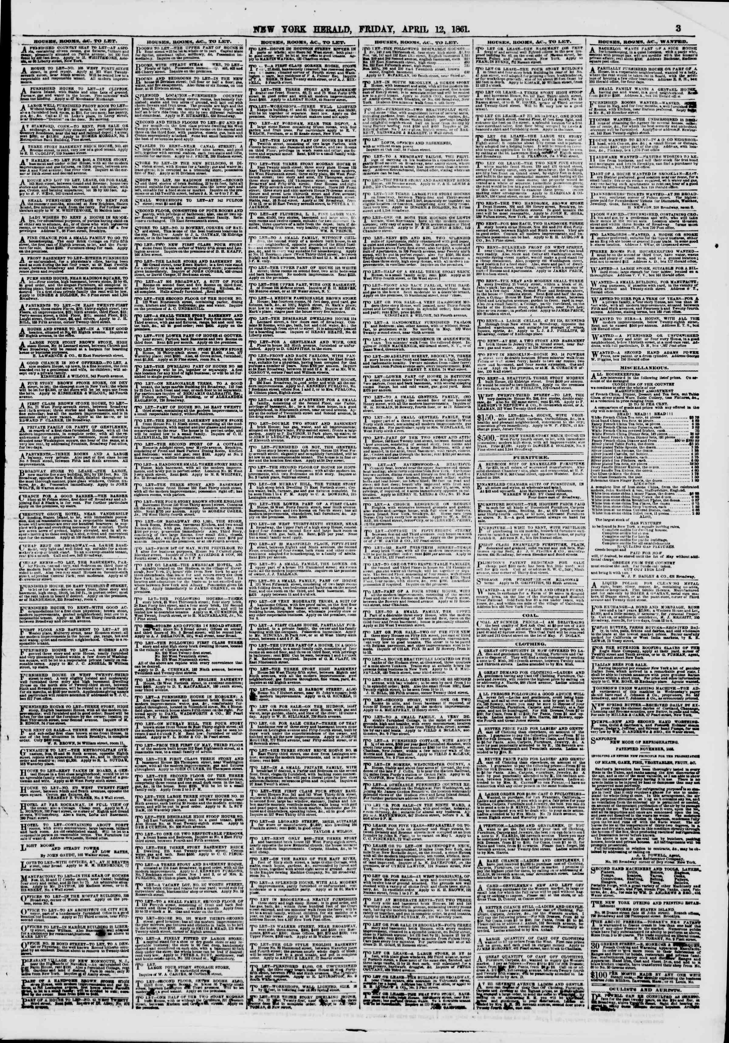 Newspaper of The New York Herald dated April 12, 1861 Page 3