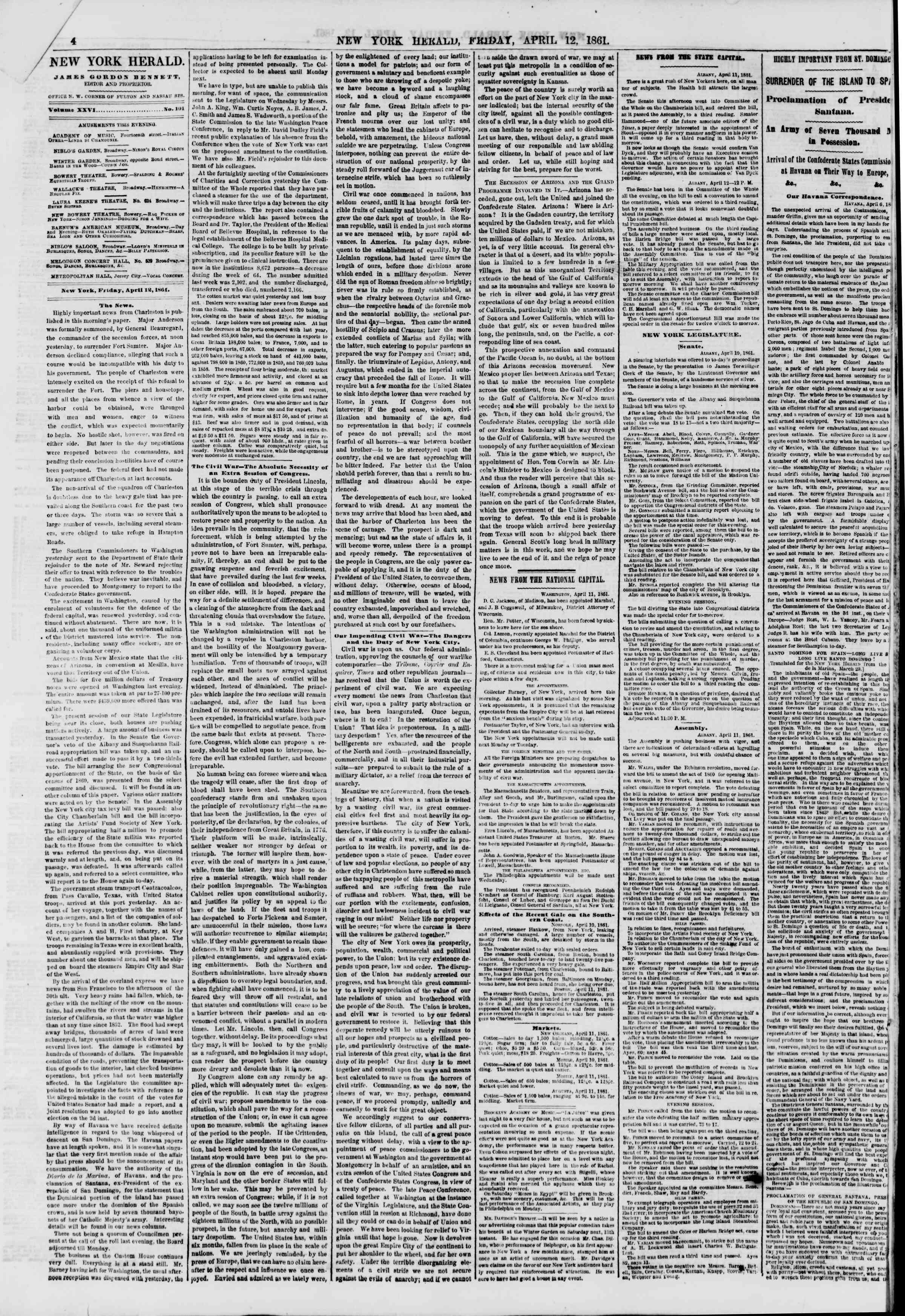 Newspaper of The New York Herald dated April 12, 1861 Page 4