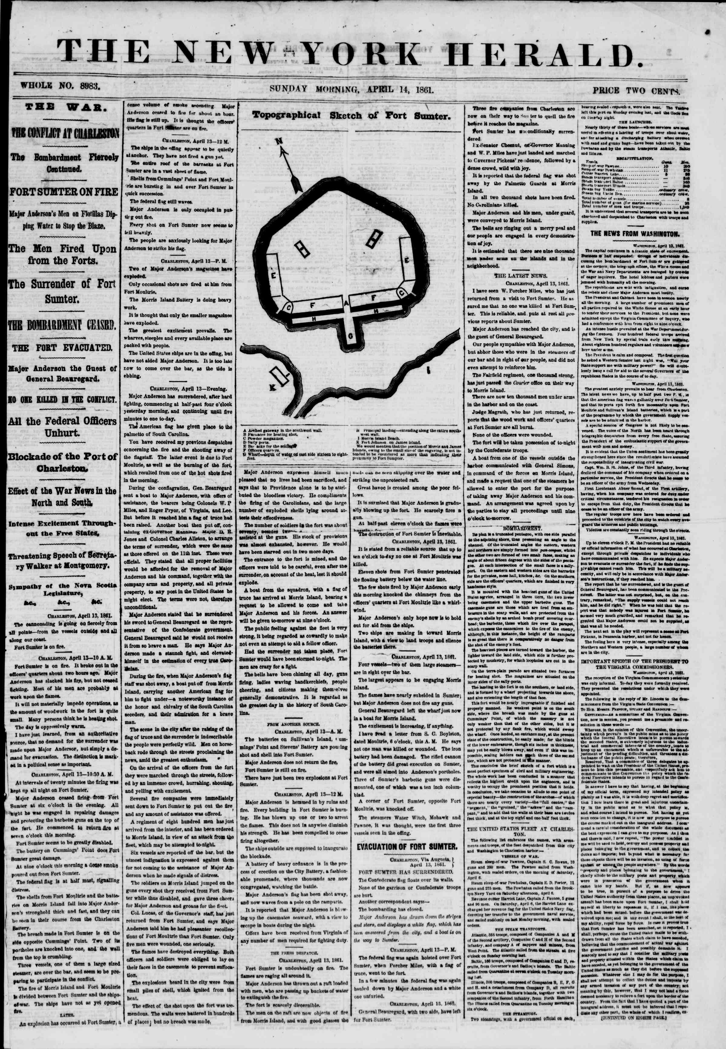 Newspaper of The New York Herald dated April 14, 1861 Page 1