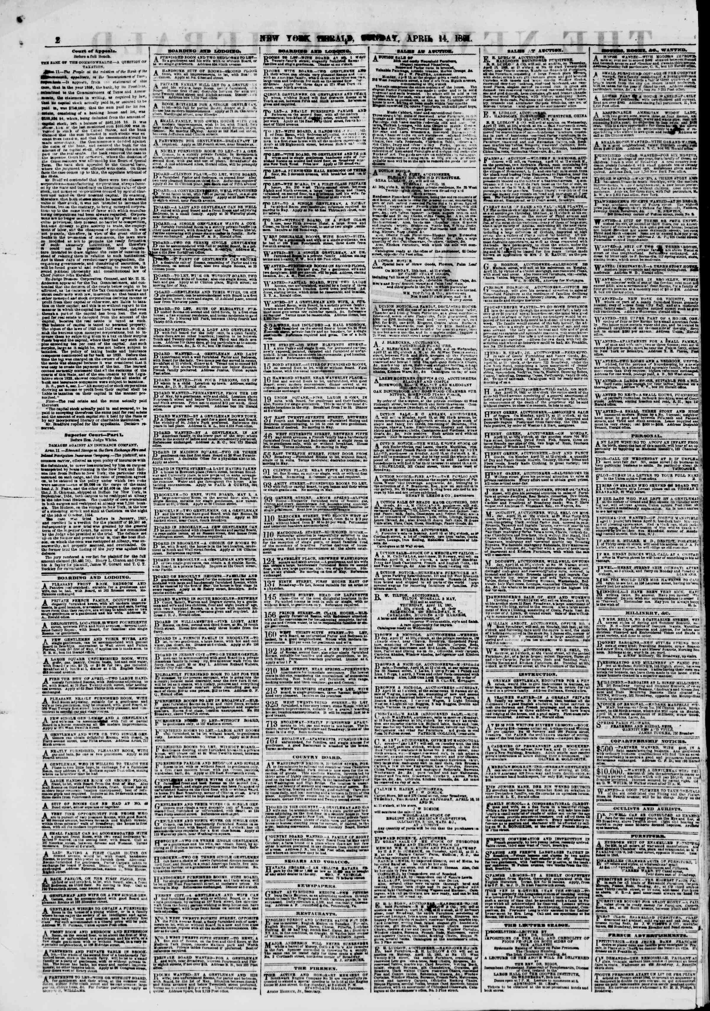 Newspaper of The New York Herald dated April 14, 1861 Page 2