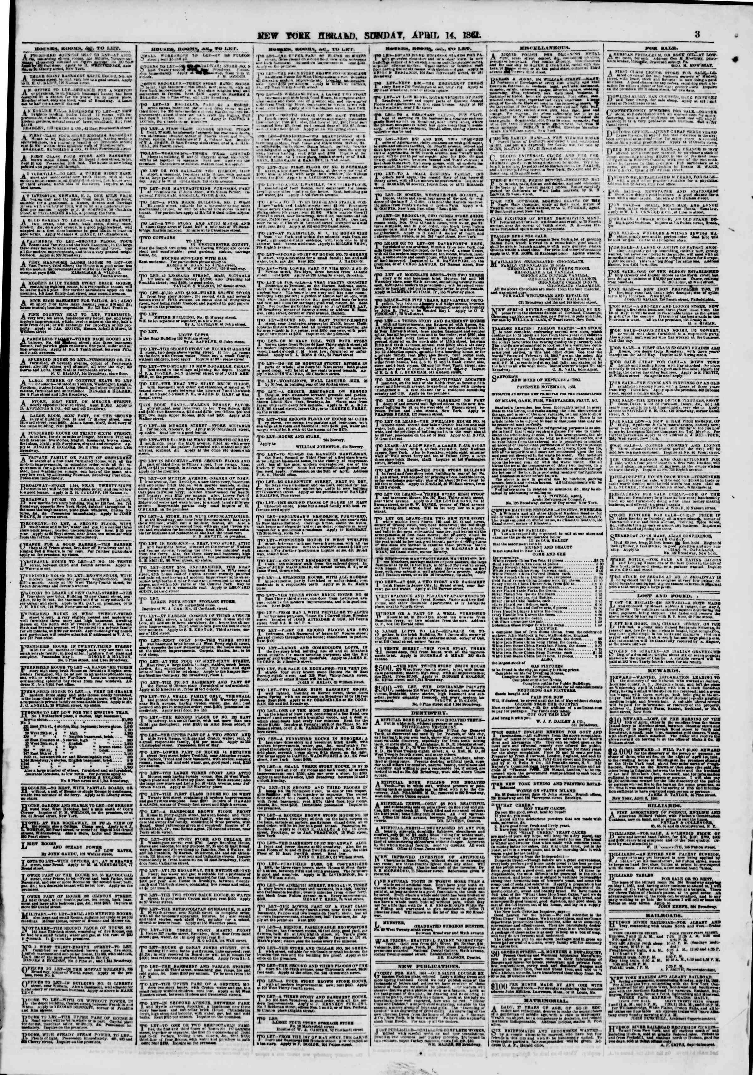 Newspaper of The New York Herald dated April 14, 1861 Page 3