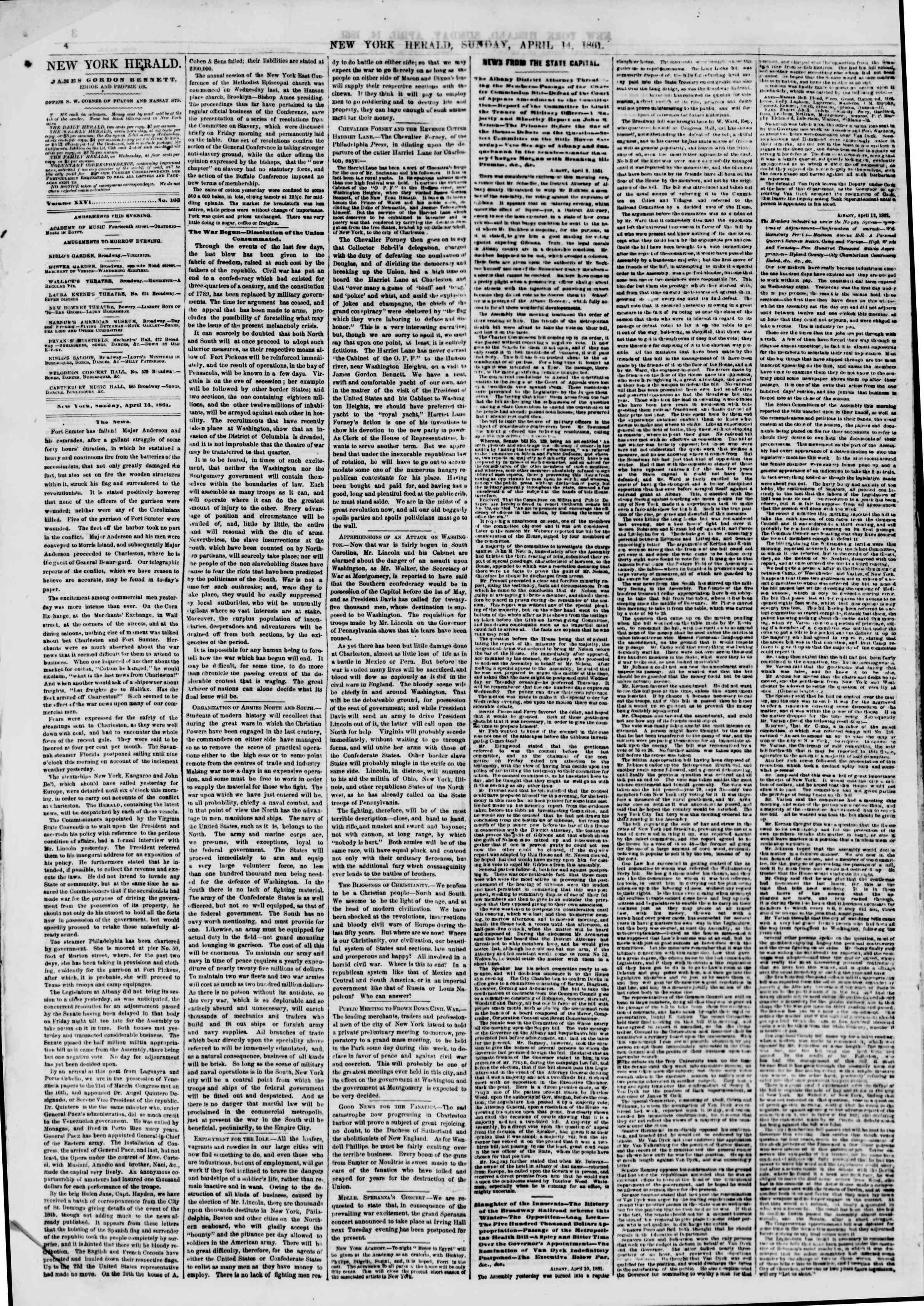 Newspaper of The New York Herald dated April 14, 1861 Page 4