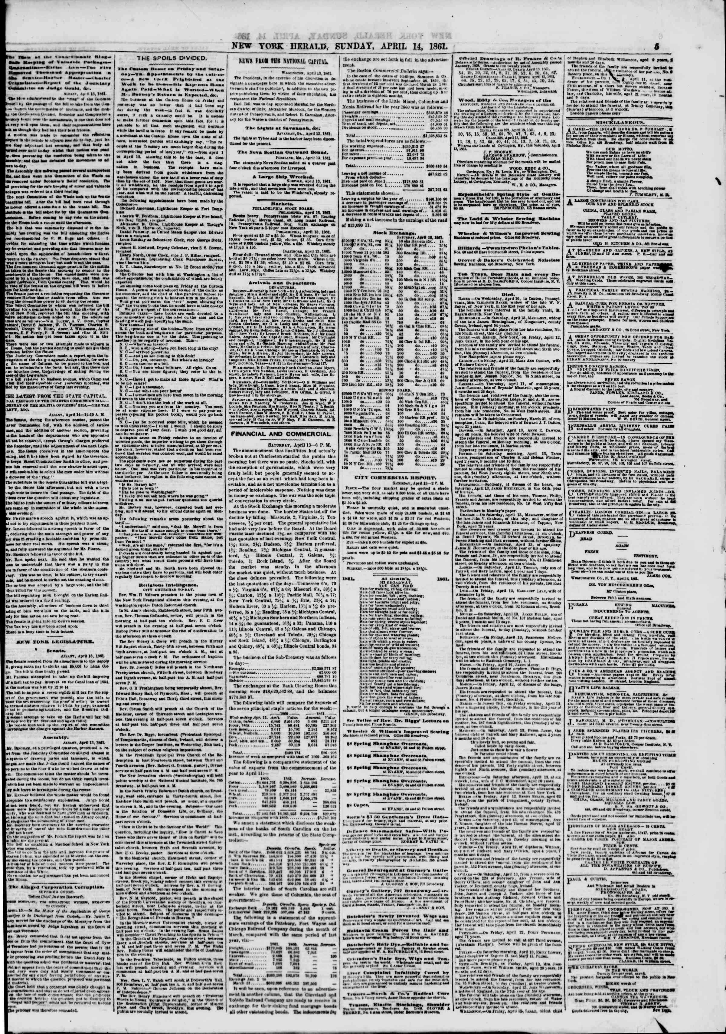 Newspaper of The New York Herald dated April 14, 1861 Page 5