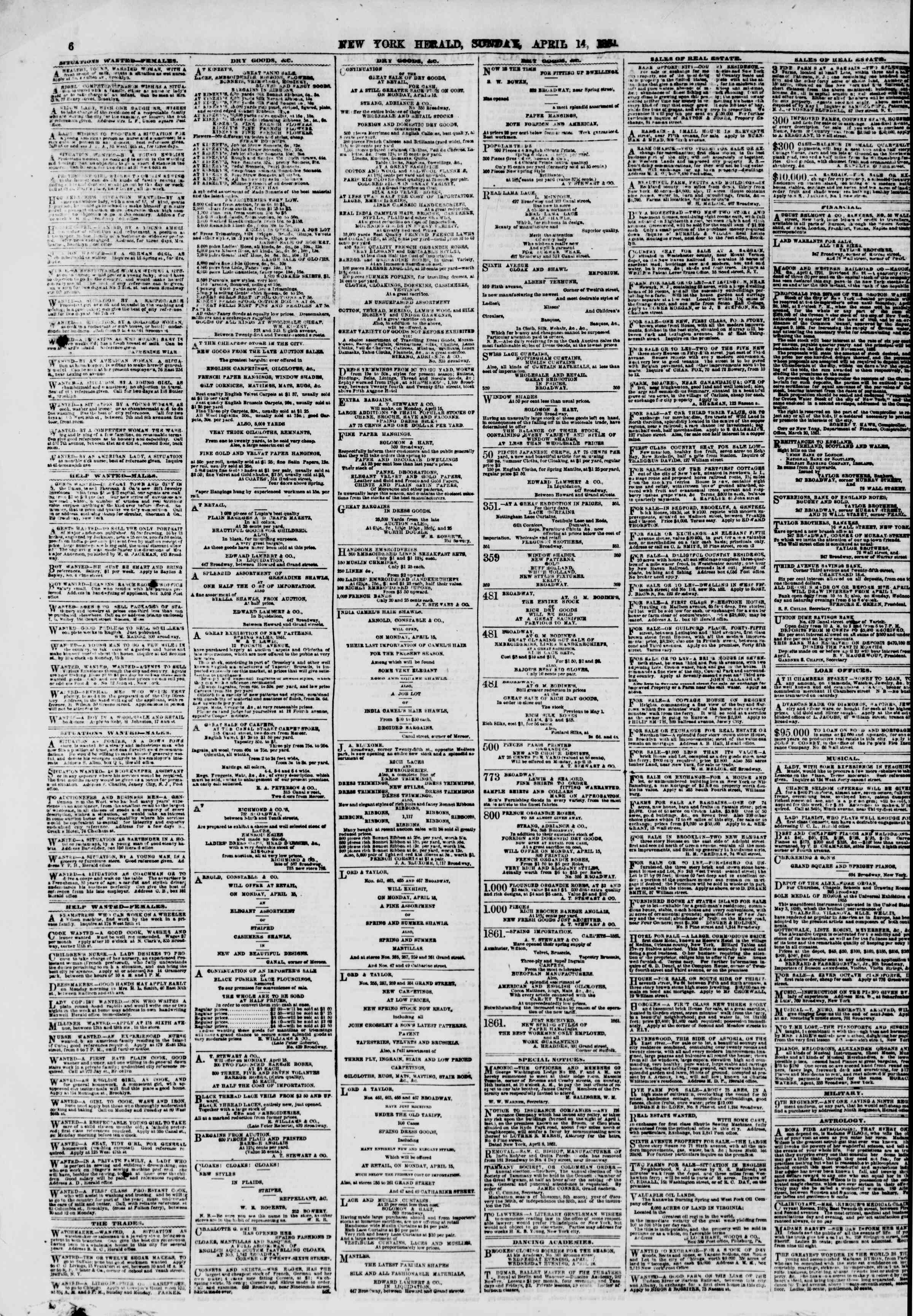 Newspaper of The New York Herald dated April 14, 1861 Page 6