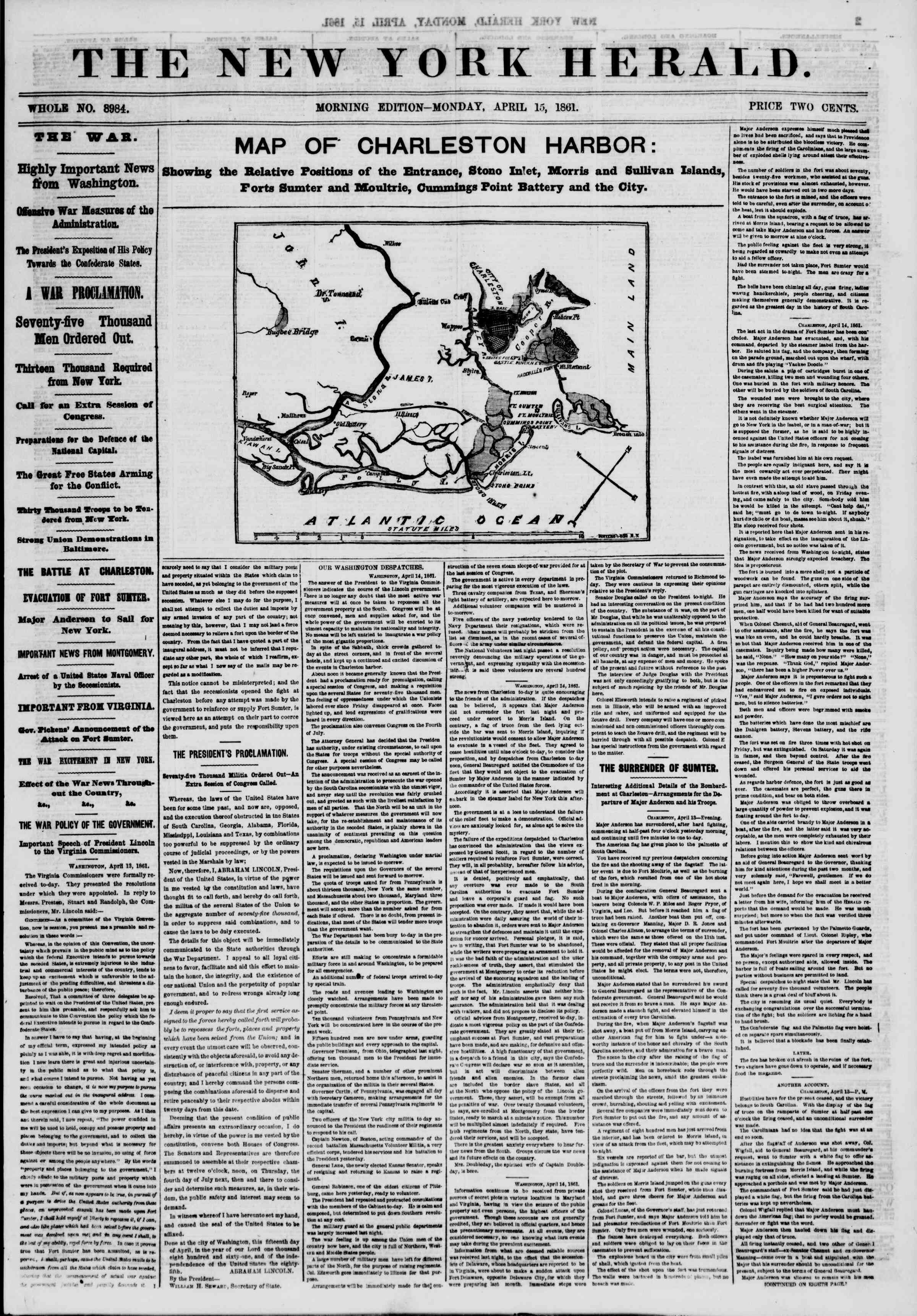Newspaper of The New York Herald dated April 15, 1861 Page 1