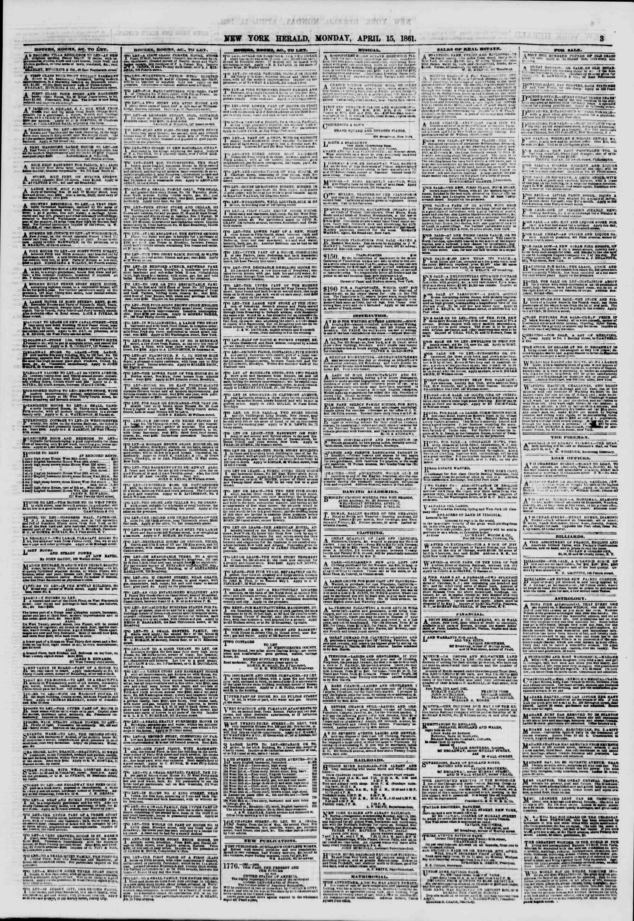 Newspaper of The New York Herald dated April 15, 1861 Page 3