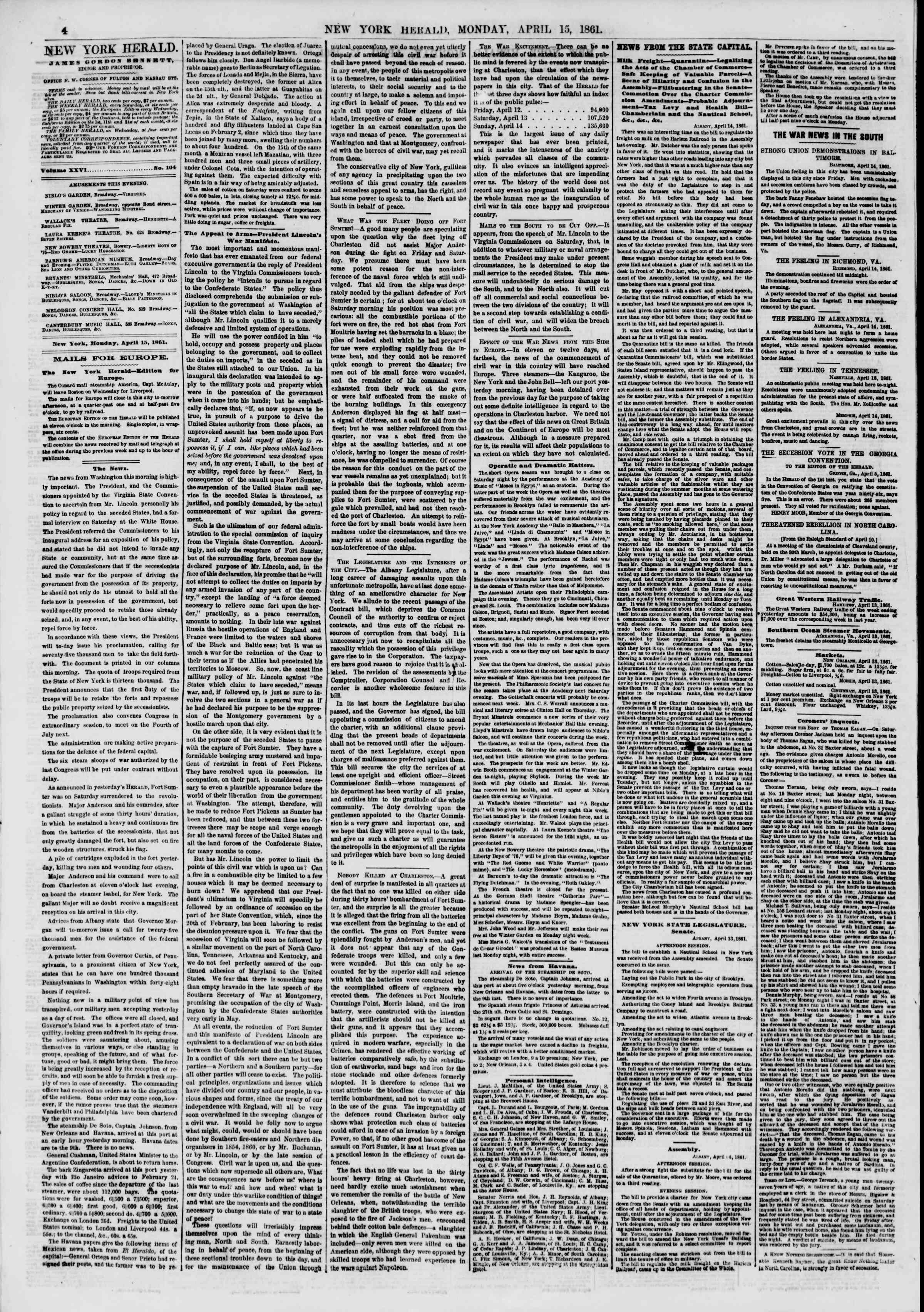 Newspaper of The New York Herald dated April 15, 1861 Page 4