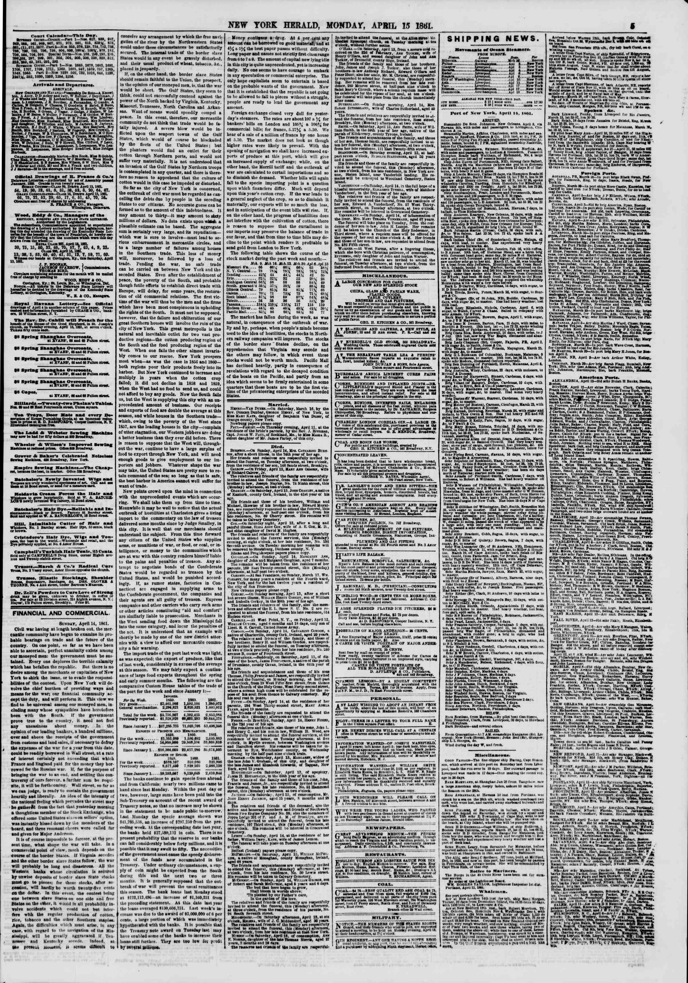 Newspaper of The New York Herald dated April 15, 1861 Page 5