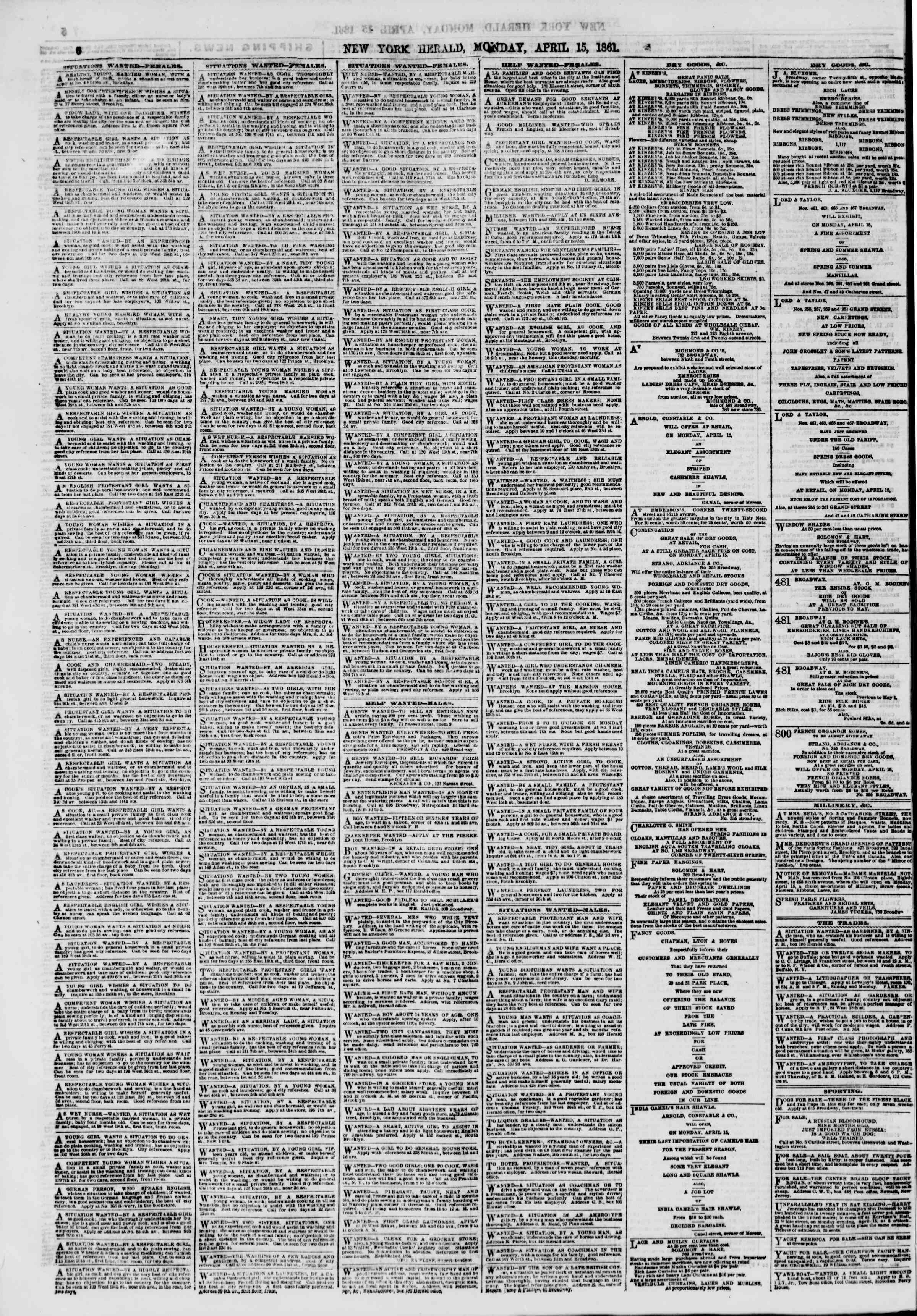 Newspaper of The New York Herald dated April 15, 1861 Page 6