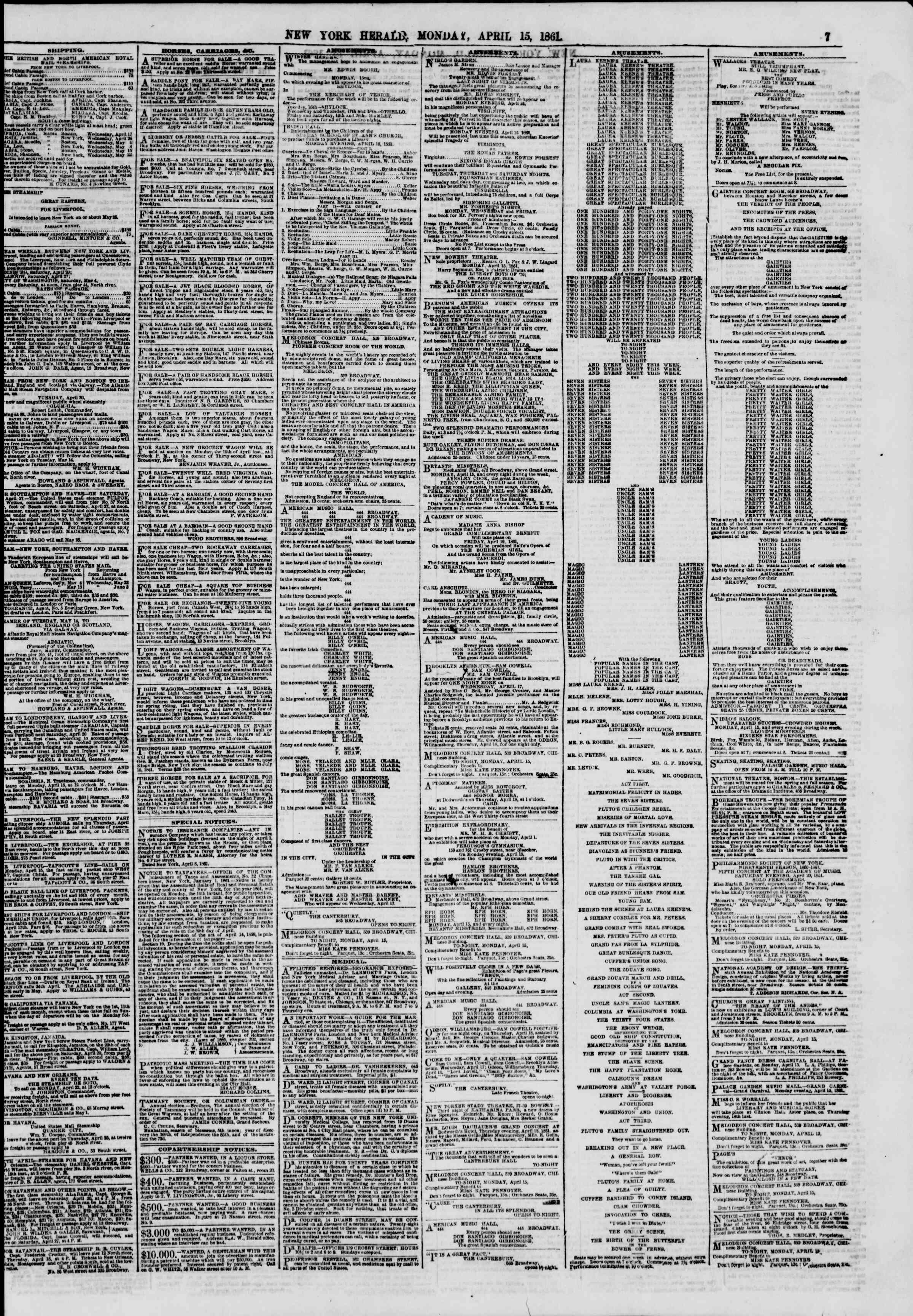 Newspaper of The New York Herald dated April 15, 1861 Page 7