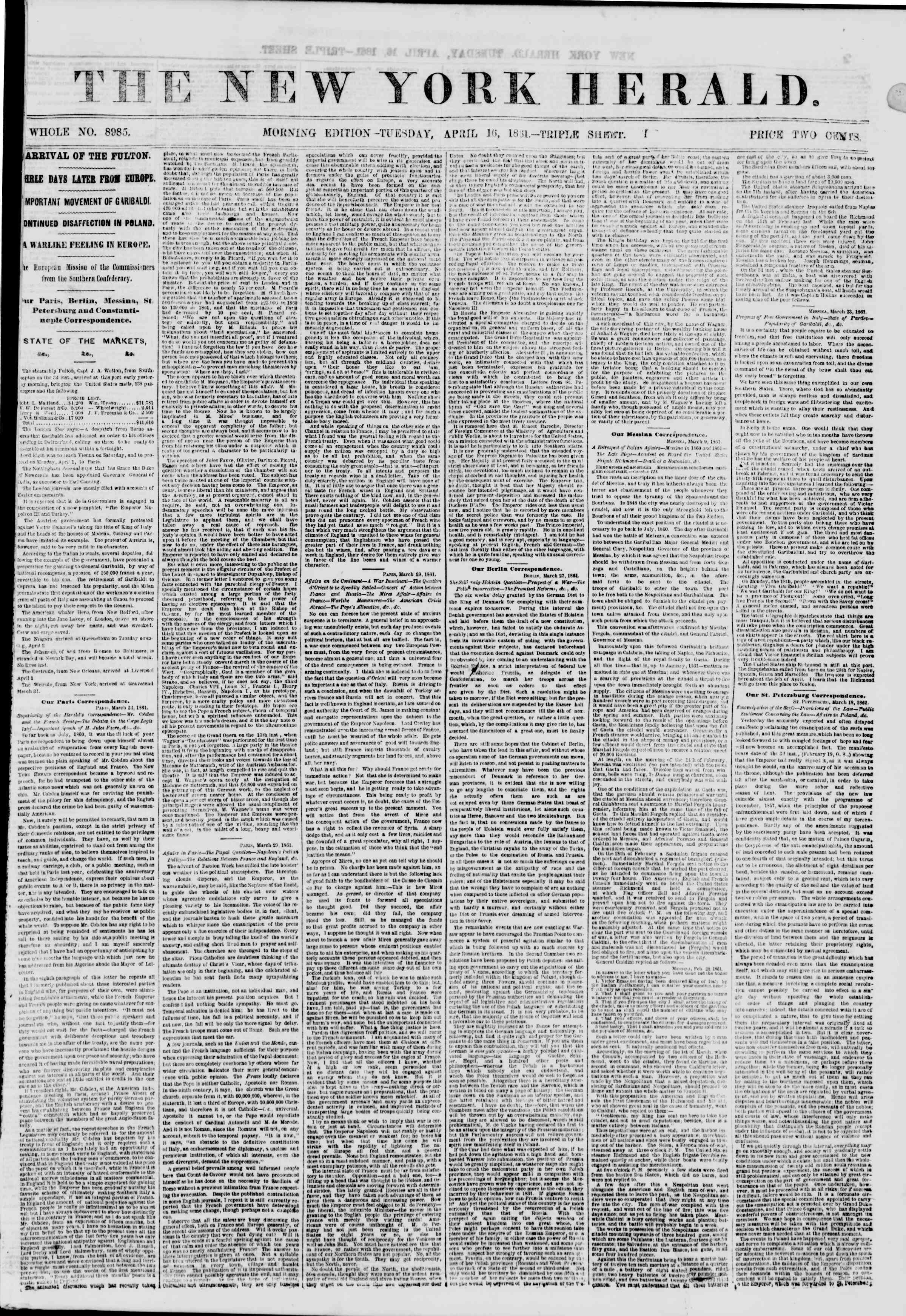 Newspaper of The New York Herald dated April 16, 1861 Page 1