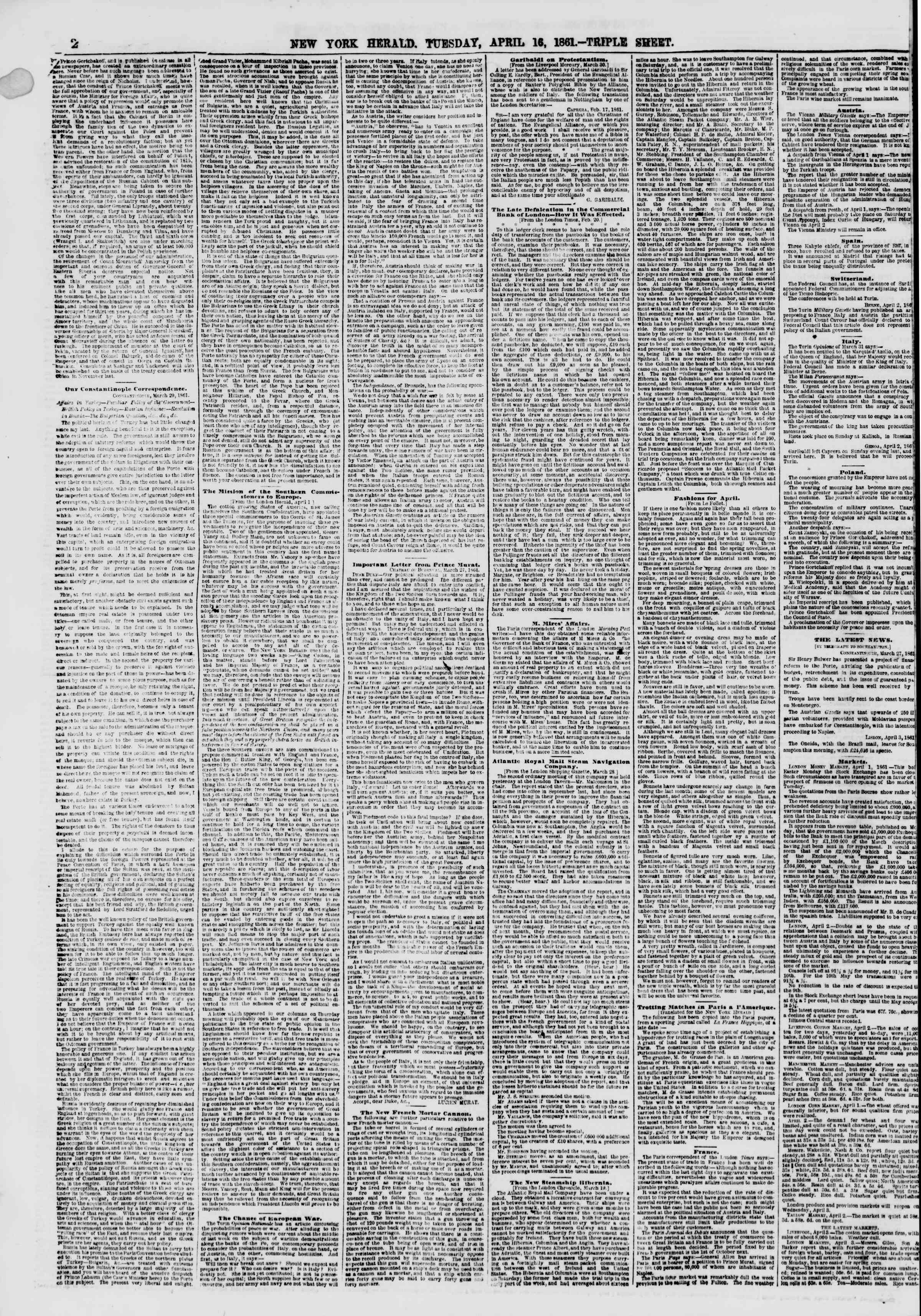 Newspaper of The New York Herald dated April 16, 1861 Page 2