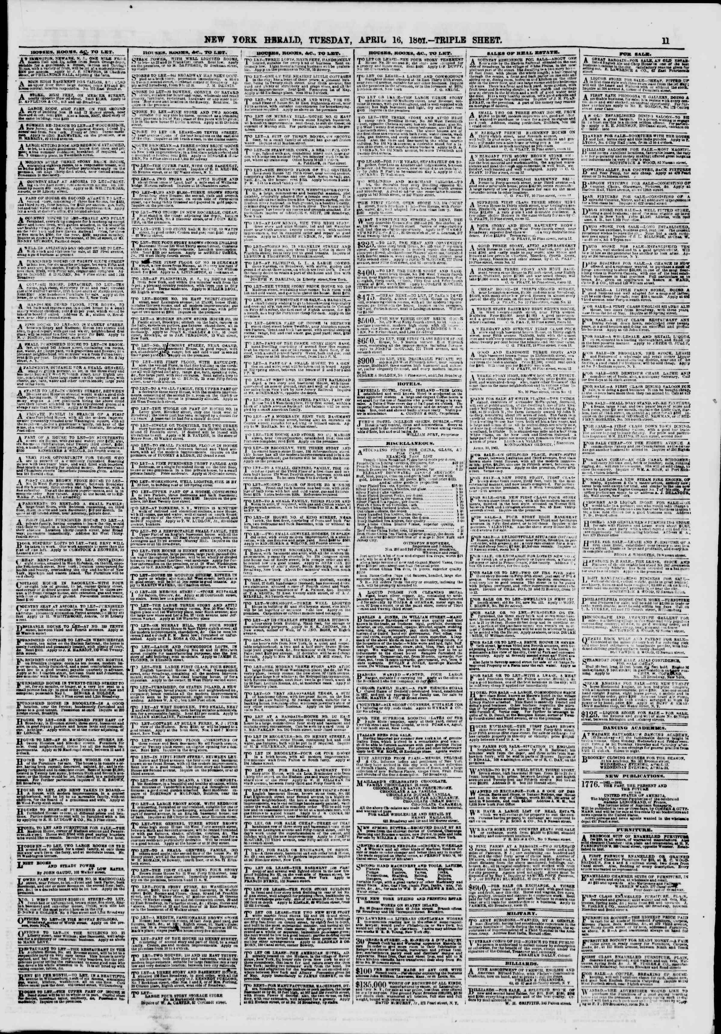 Newspaper of The New York Herald dated April 16, 1861 Page 11