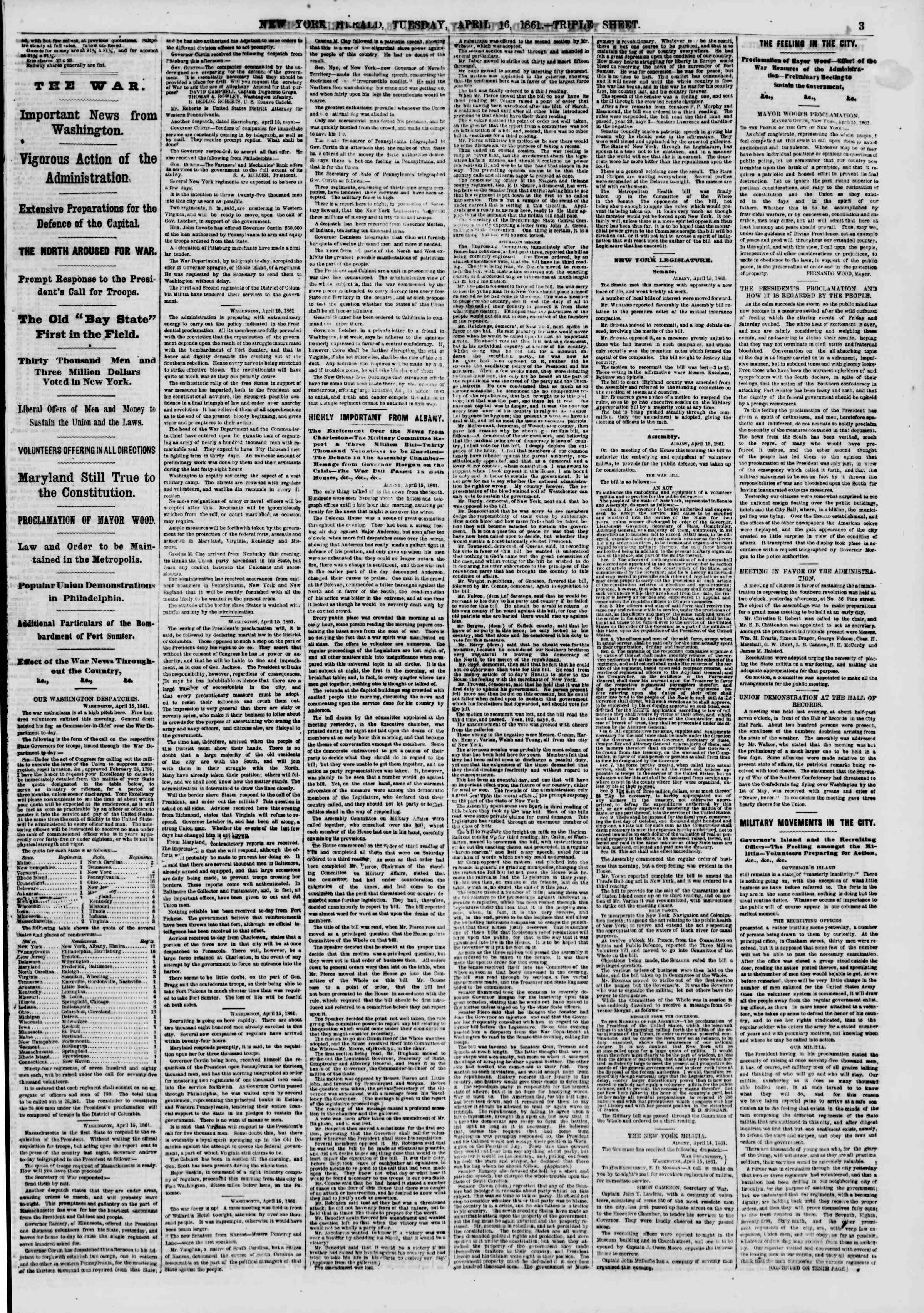 Newspaper of The New York Herald dated April 16, 1861 Page 3