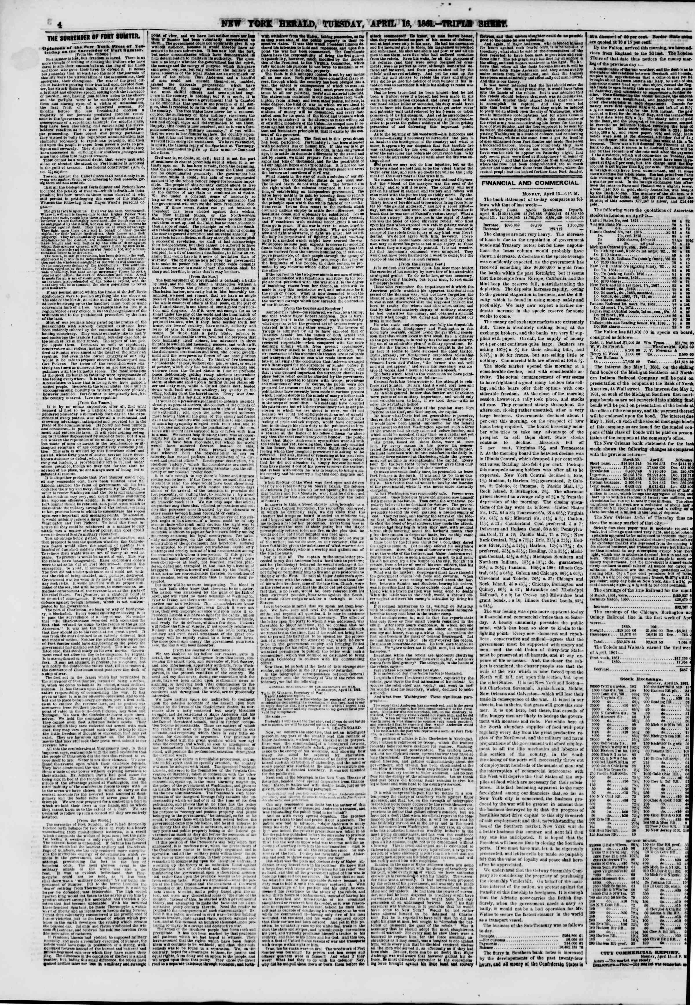 Newspaper of The New York Herald dated April 16, 1861 Page 4