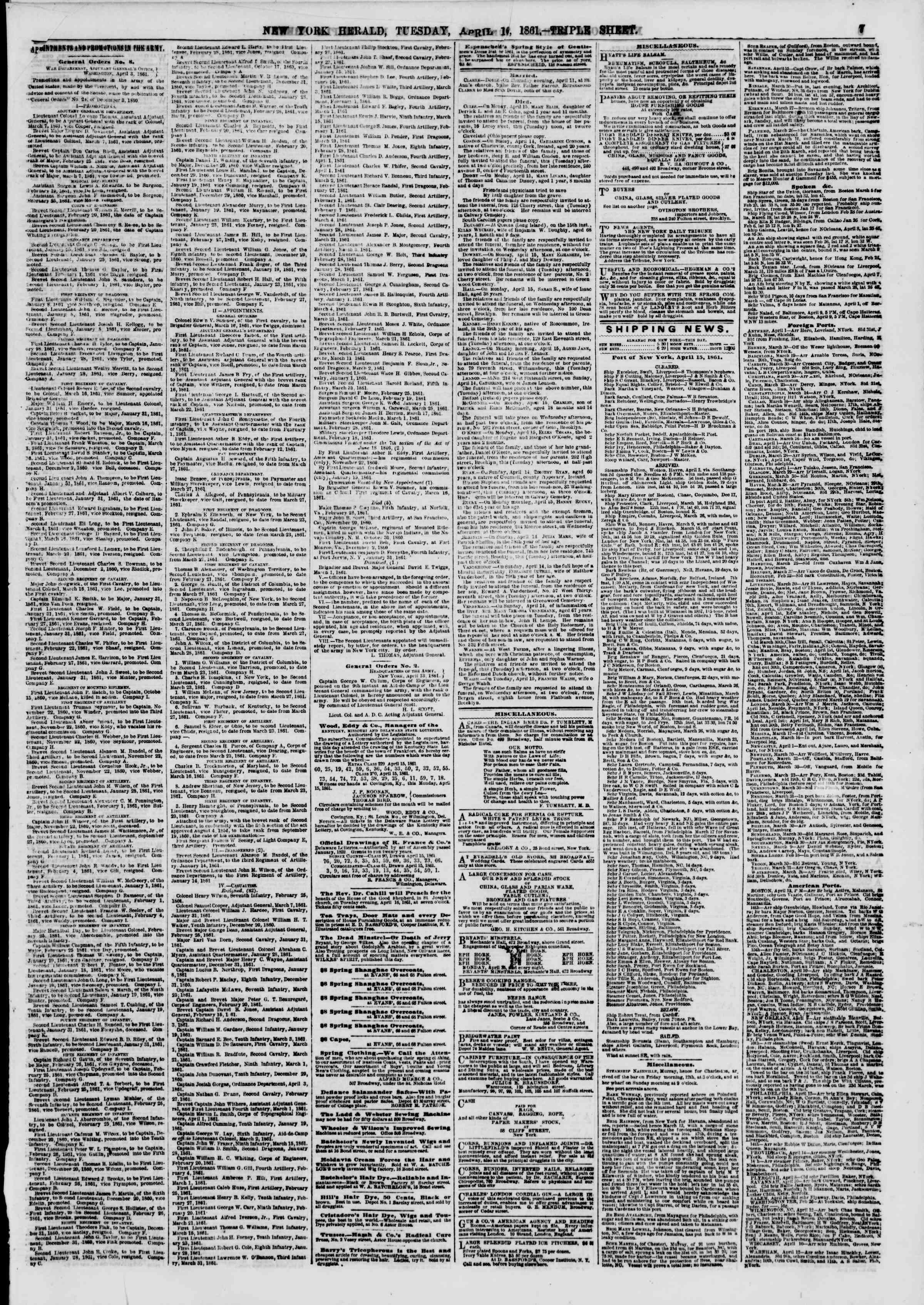 Newspaper of The New York Herald dated April 16, 1861 Page 7