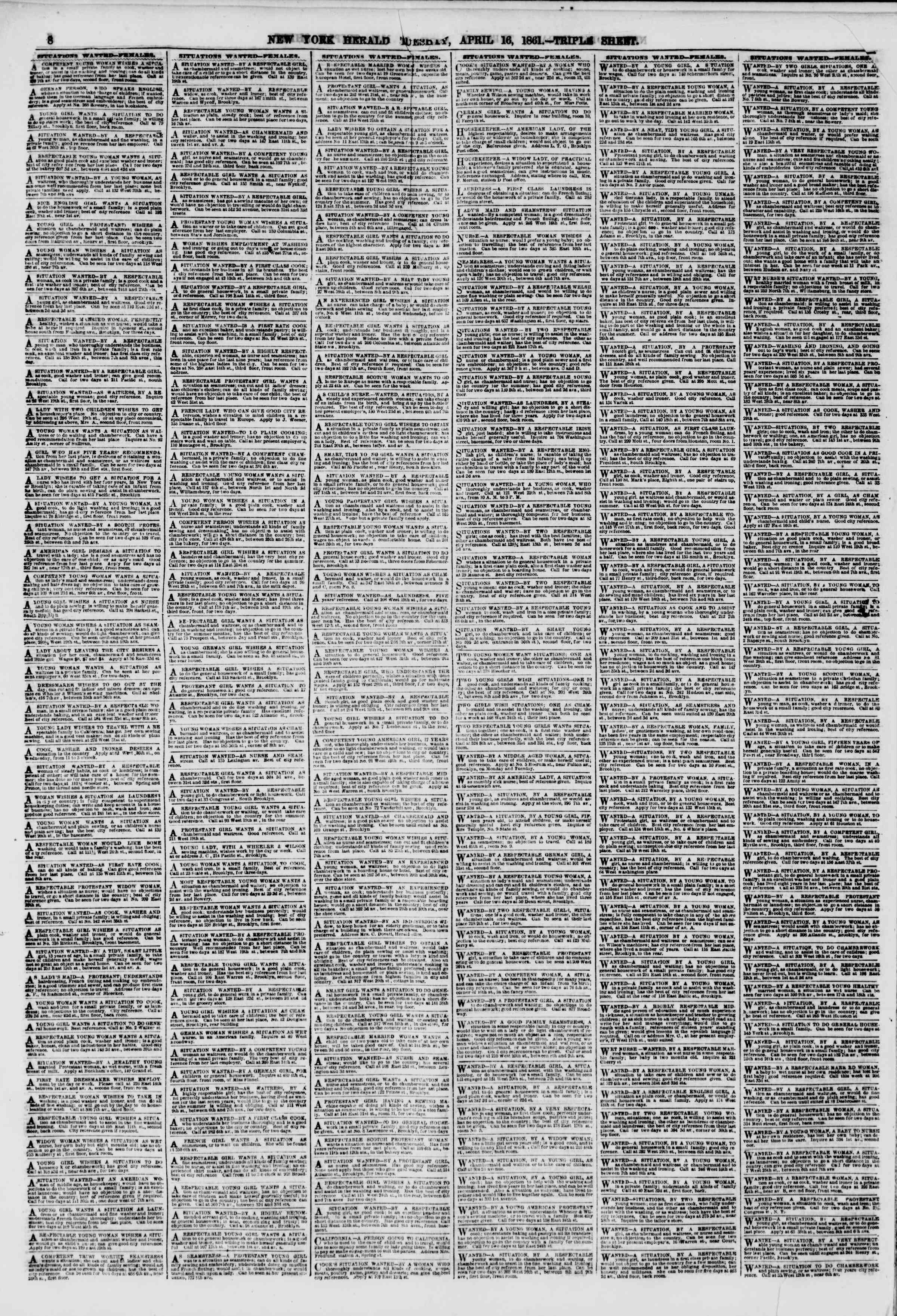 Newspaper of The New York Herald dated April 16, 1861 Page 8