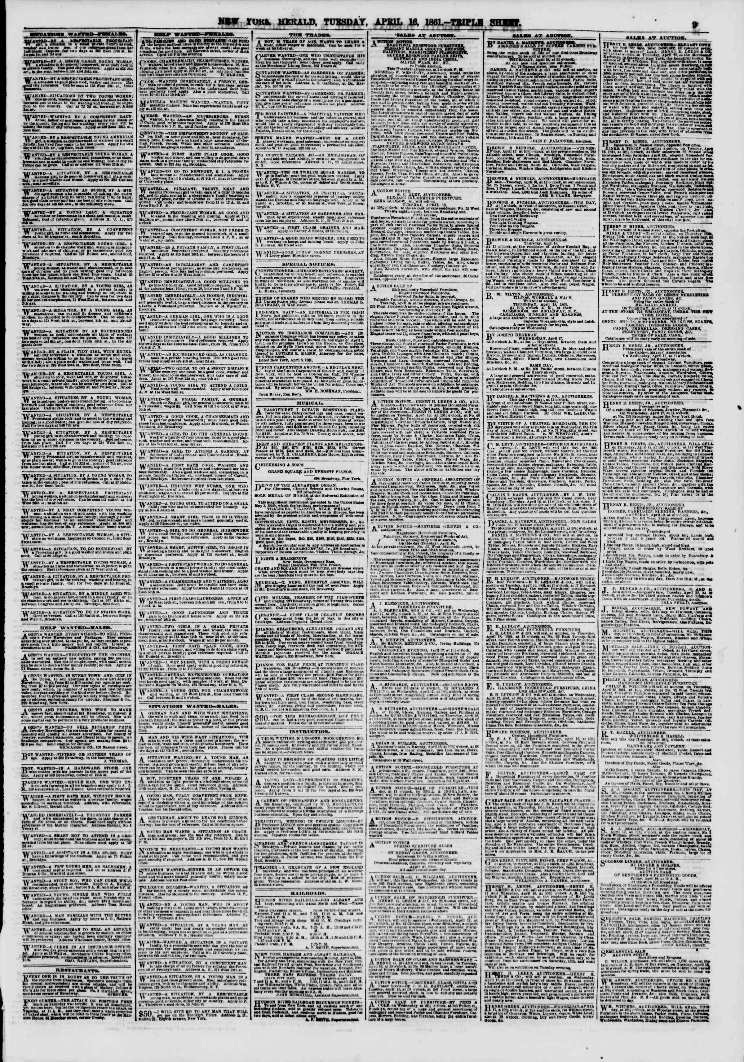 Newspaper of The New York Herald dated April 16, 1861 Page 9
