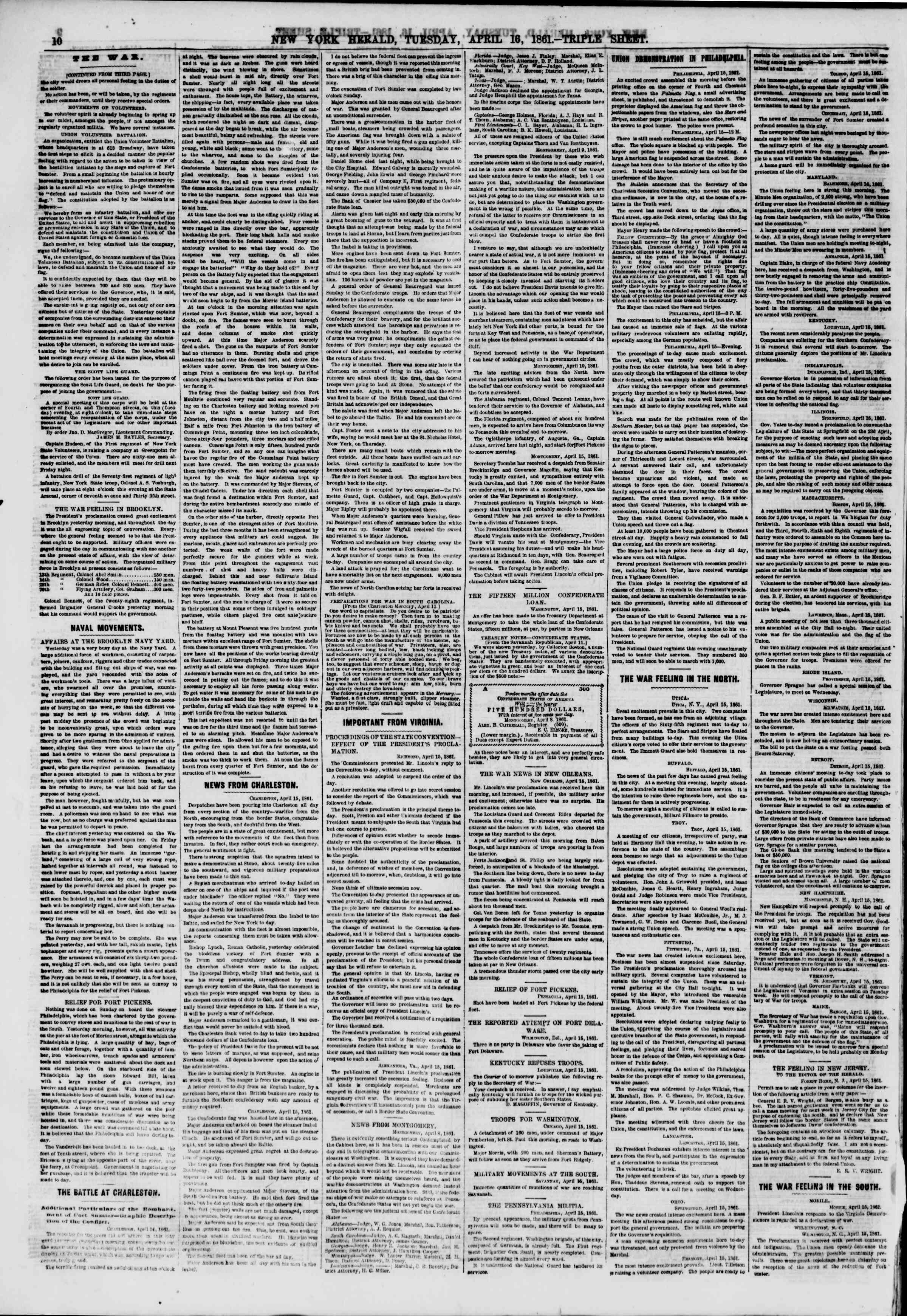 Newspaper of The New York Herald dated 16 Nisan 1861 Page 10