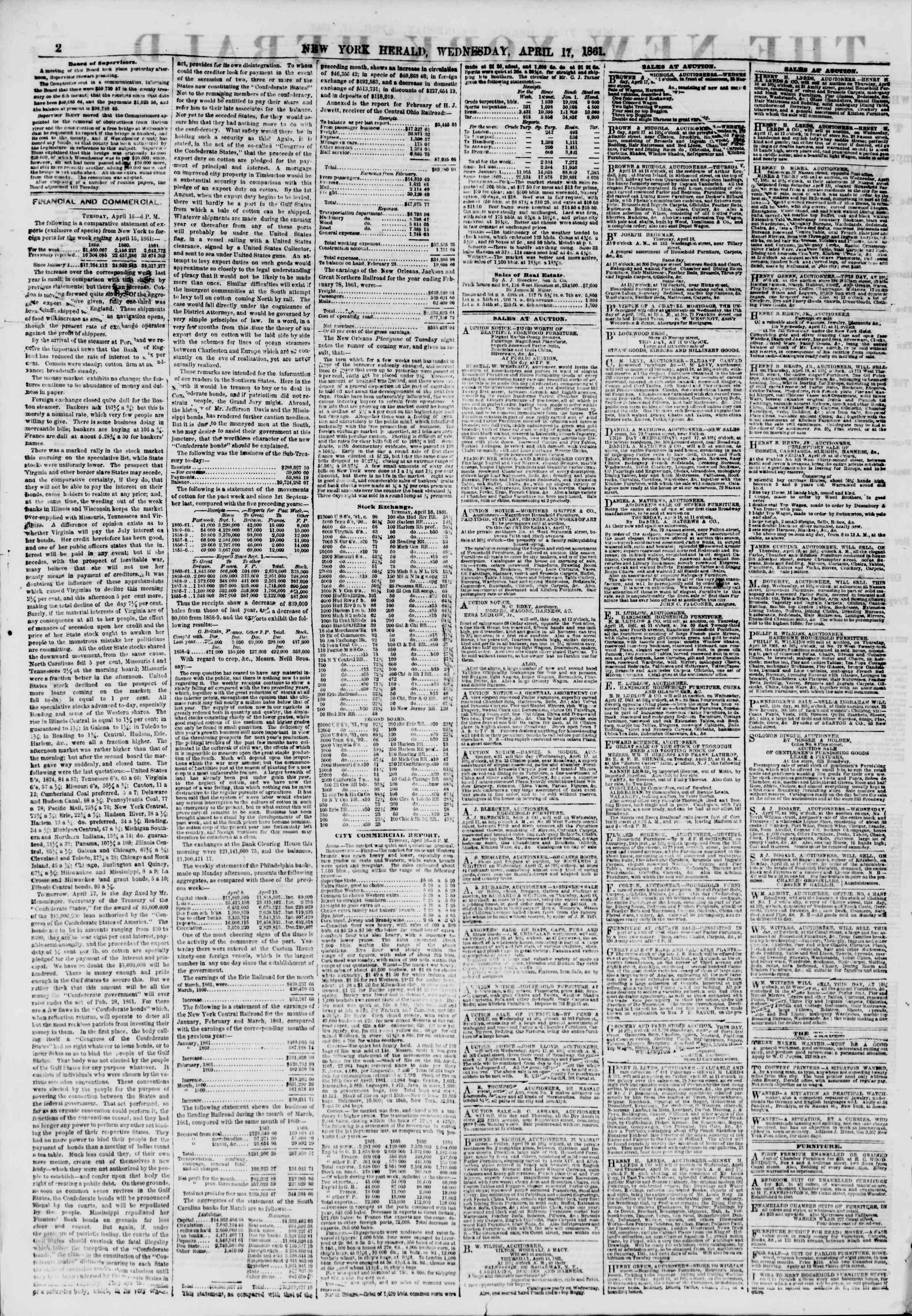 Newspaper of The New York Herald dated 17 Nisan 1861 Page 2
