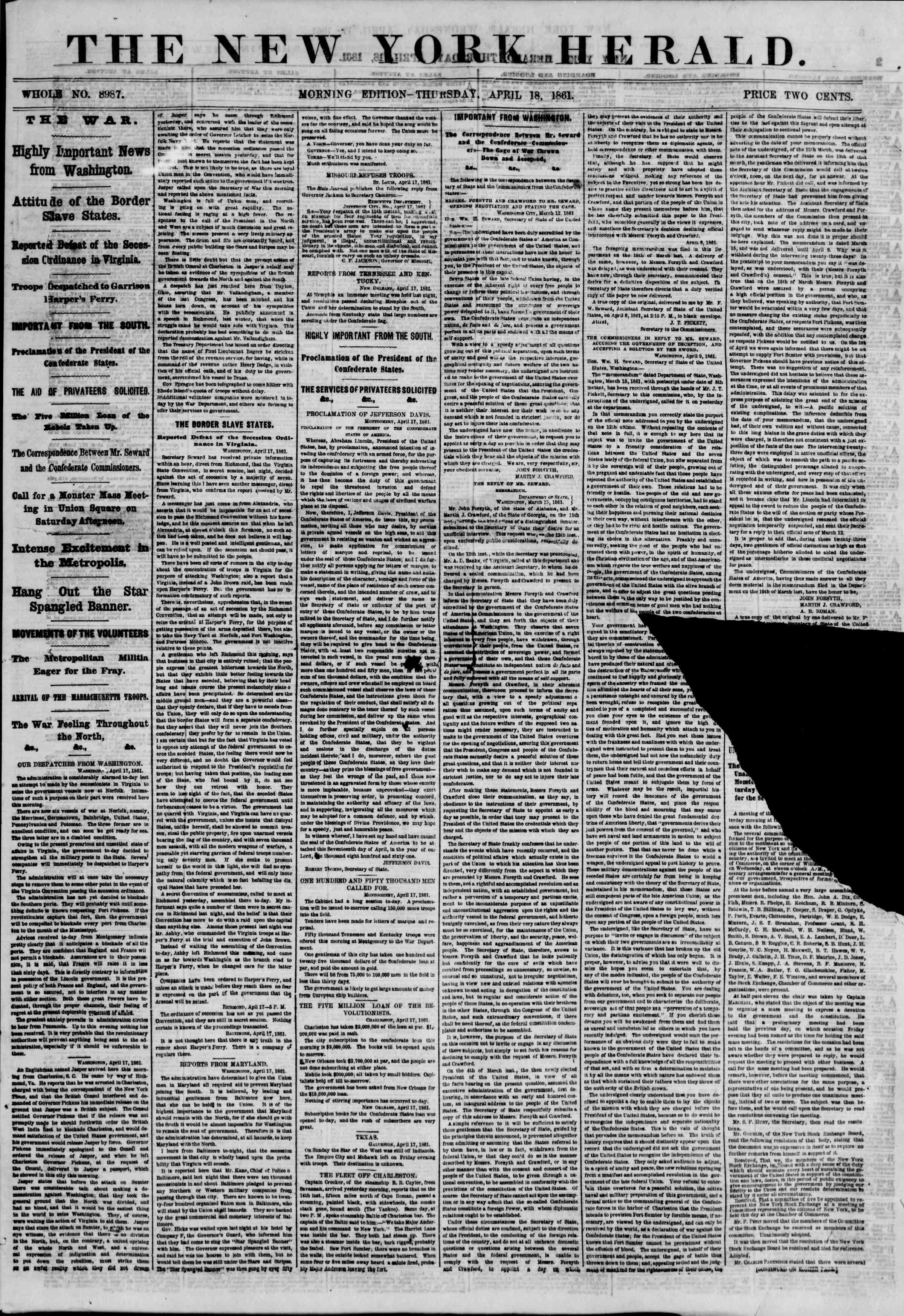Newspaper of The New York Herald dated April 18, 1861 Page 1