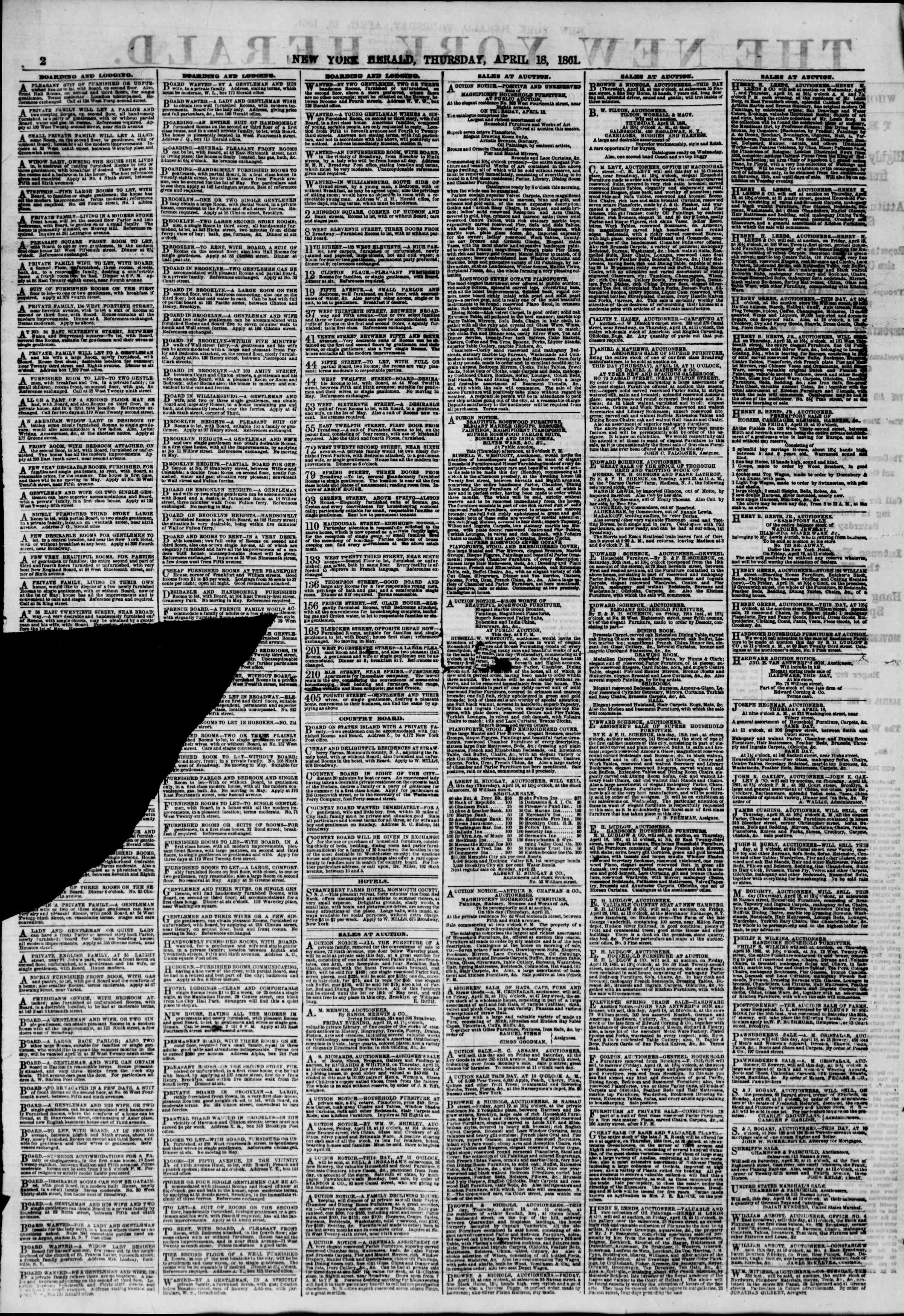 Newspaper of The New York Herald dated April 18, 1861 Page 2
