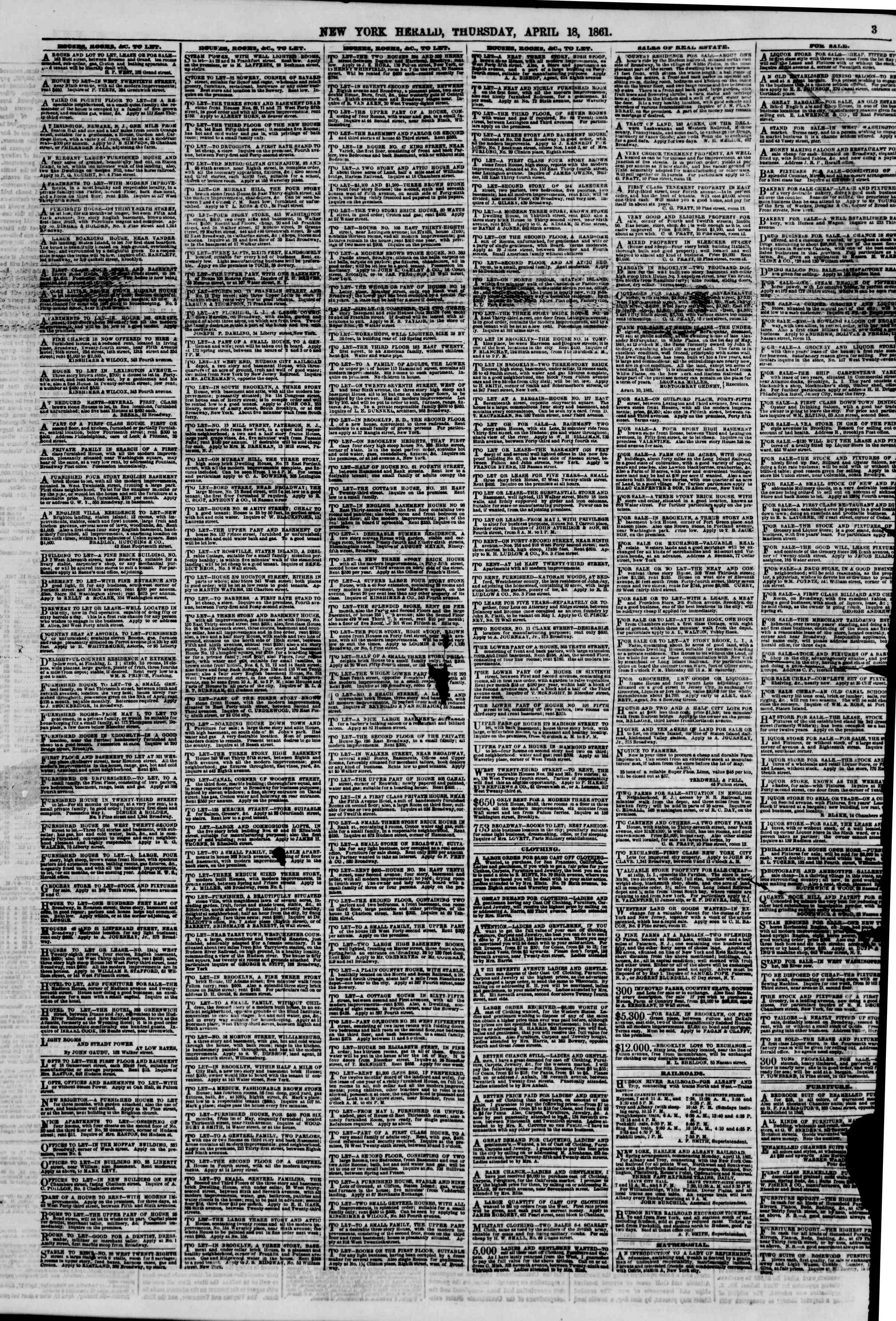 Newspaper of The New York Herald dated April 18, 1861 Page 3