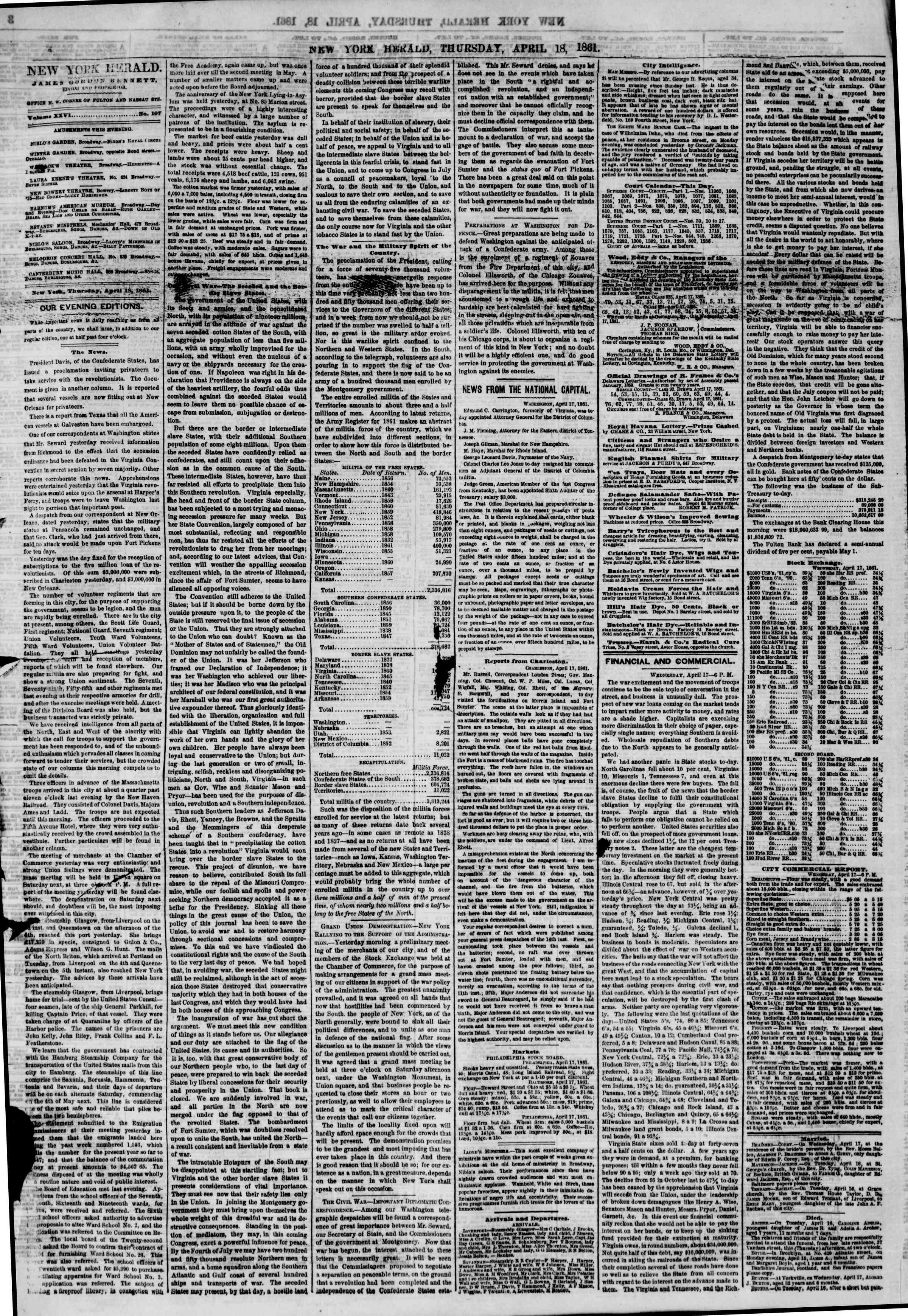 Newspaper of The New York Herald dated April 18, 1861 Page 4