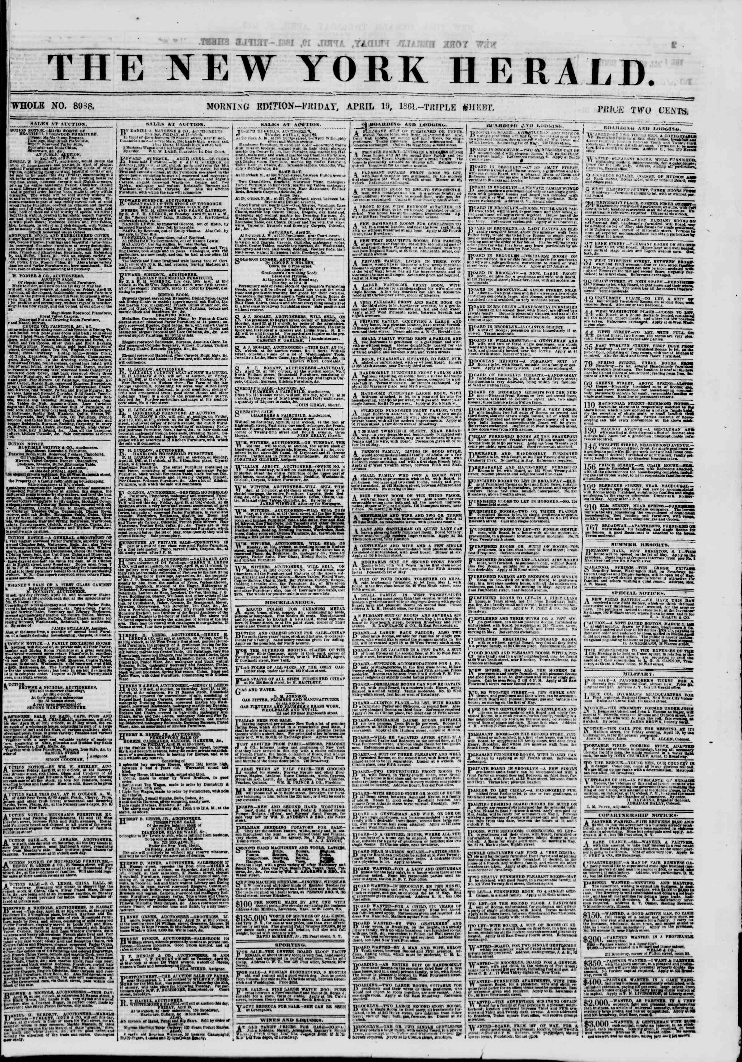 Newspaper of The New York Herald dated April 19, 1861 Page 1