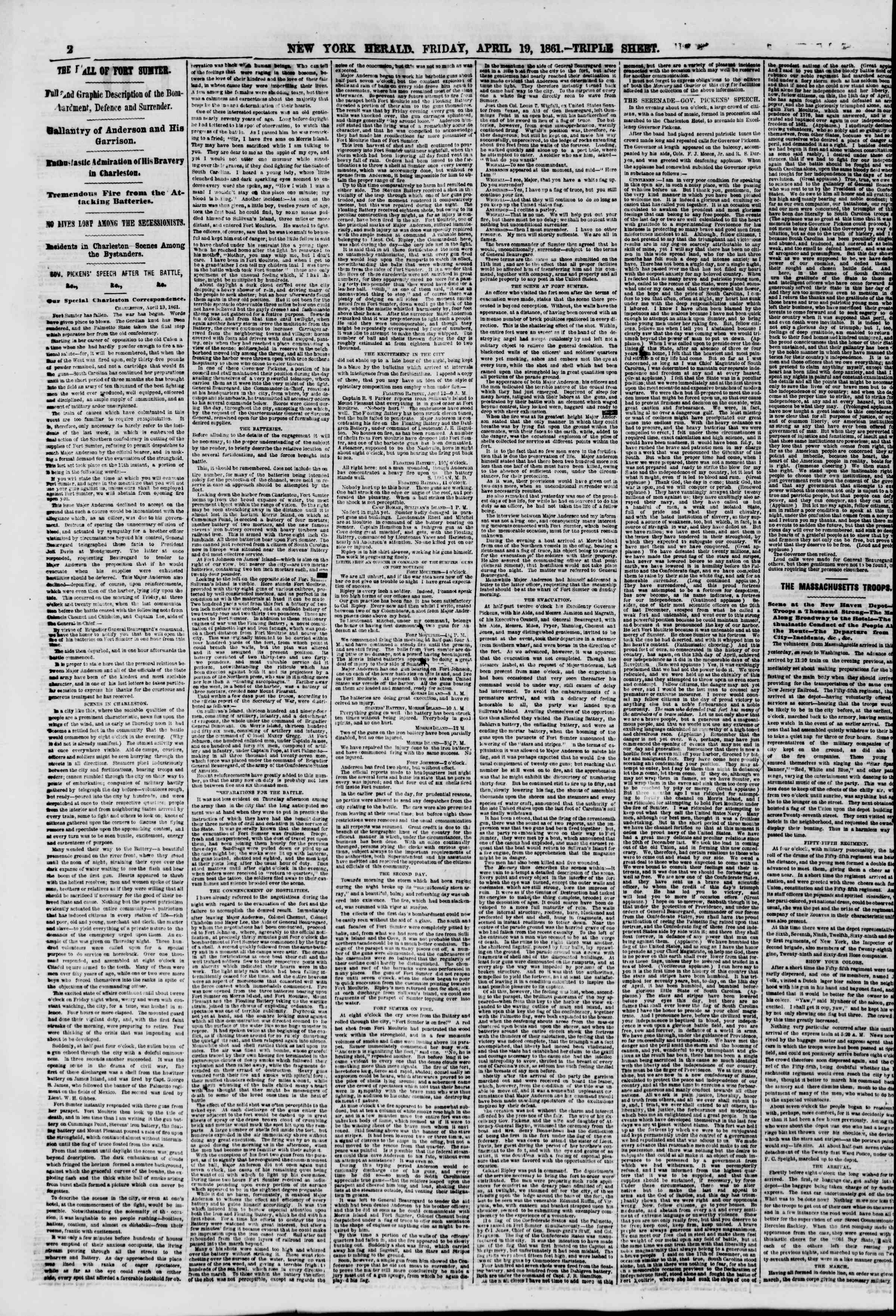 Newspaper of The New York Herald dated April 19, 1861 Page 2