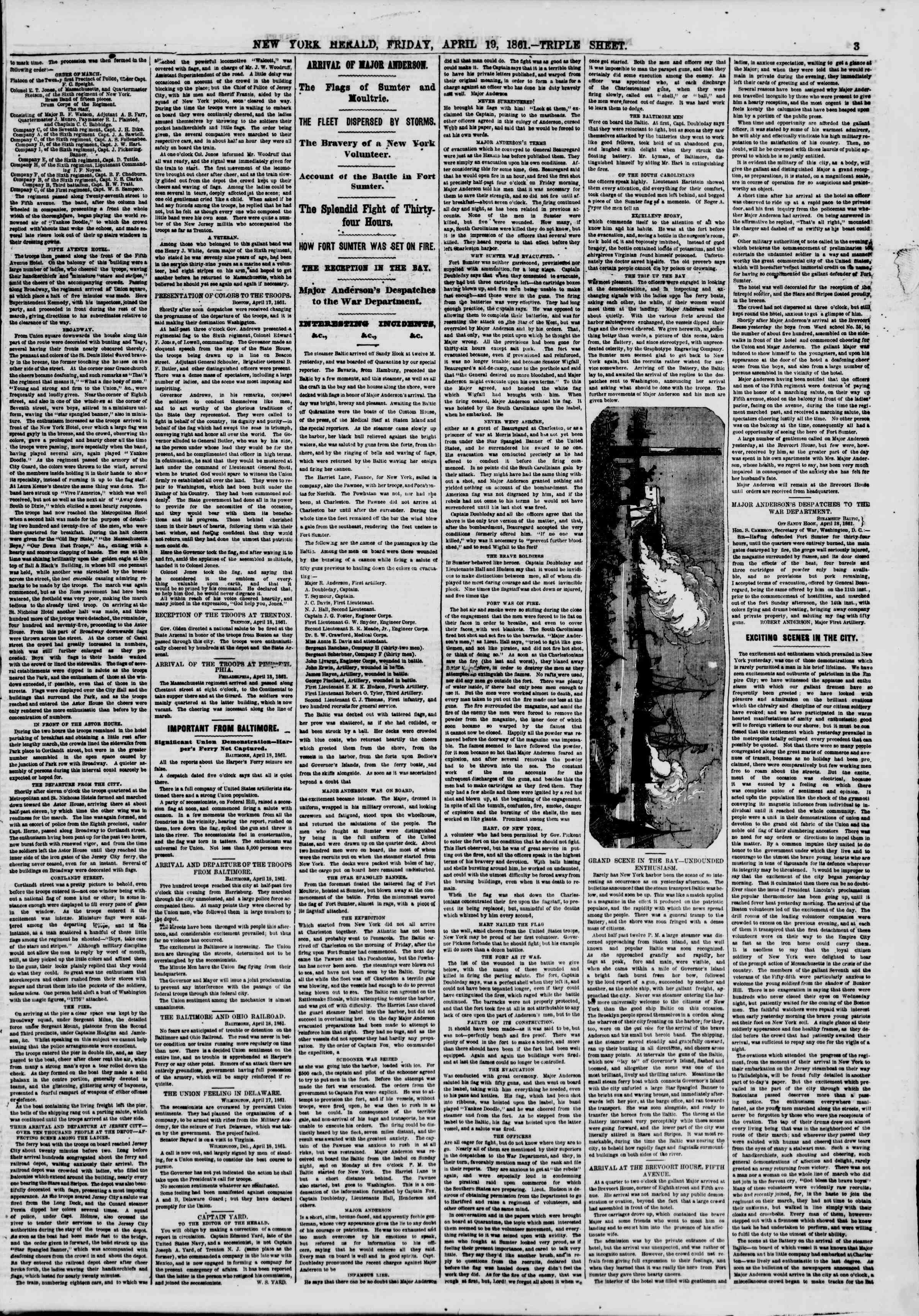 Newspaper of The New York Herald dated April 19, 1861 Page 3