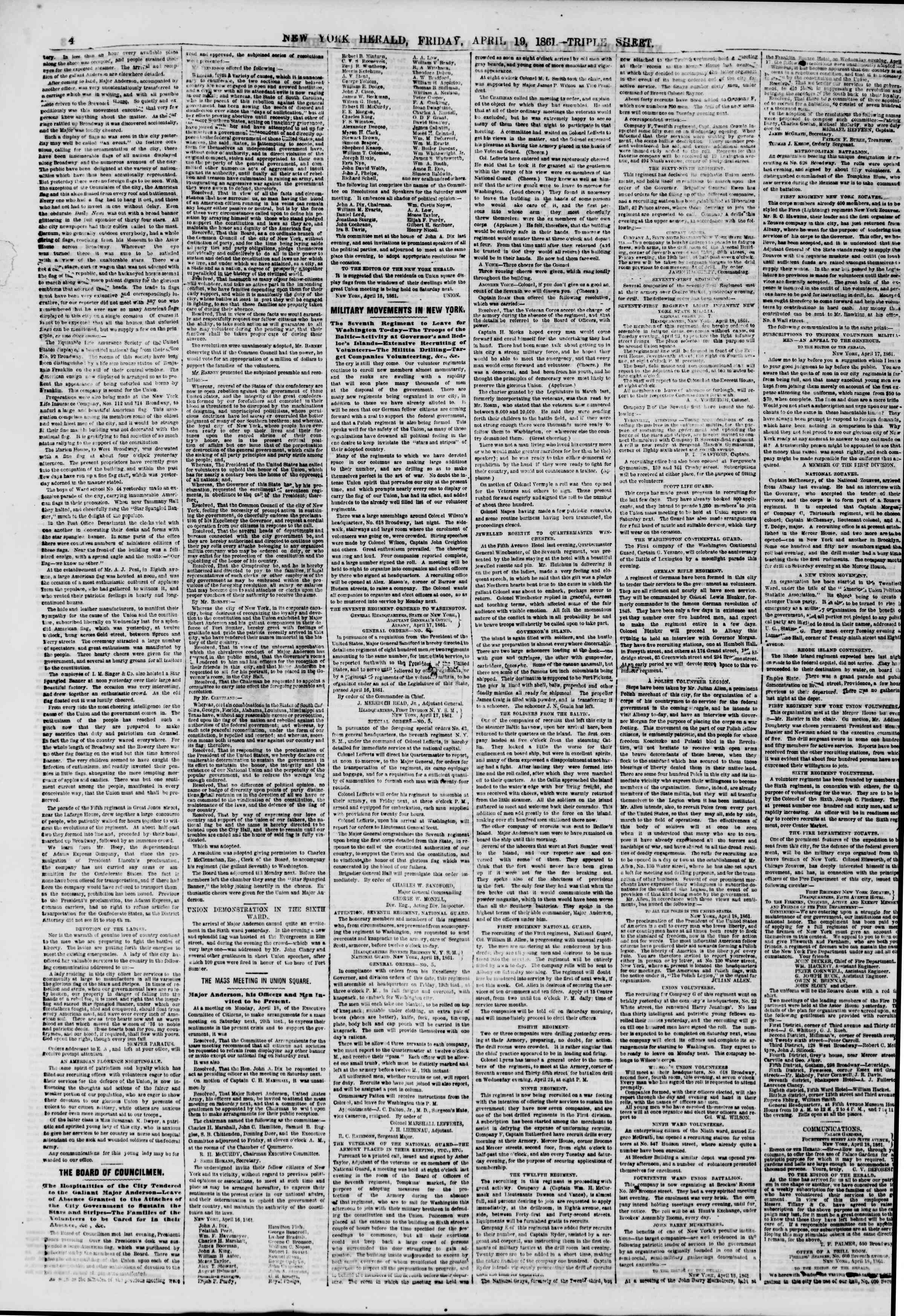 Newspaper of The New York Herald dated April 19, 1861 Page 4