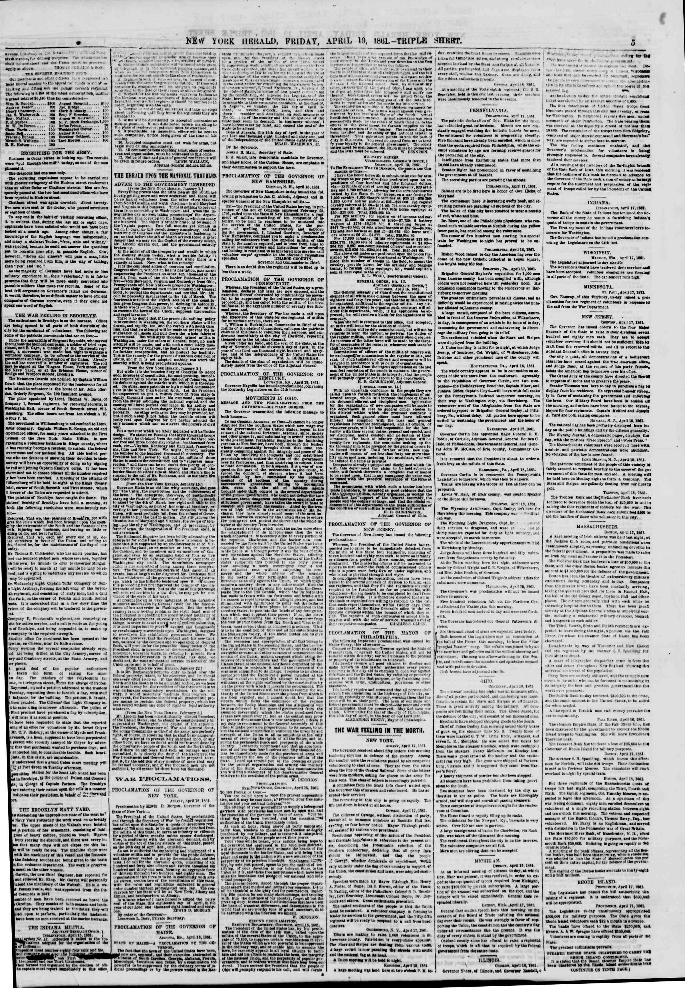 Newspaper of The New York Herald dated April 19, 1861 Page 5
