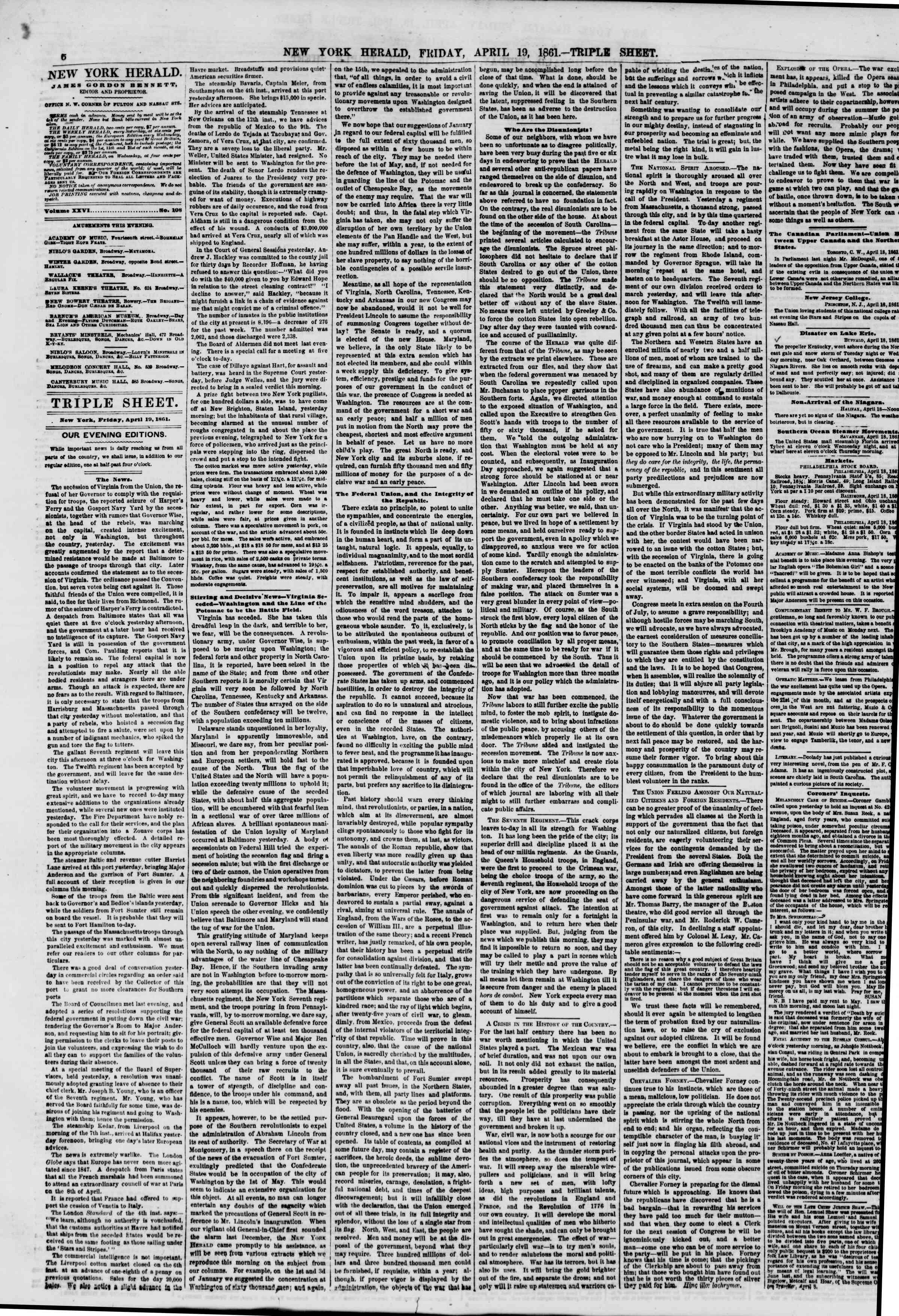 Newspaper of The New York Herald dated April 19, 1861 Page 6