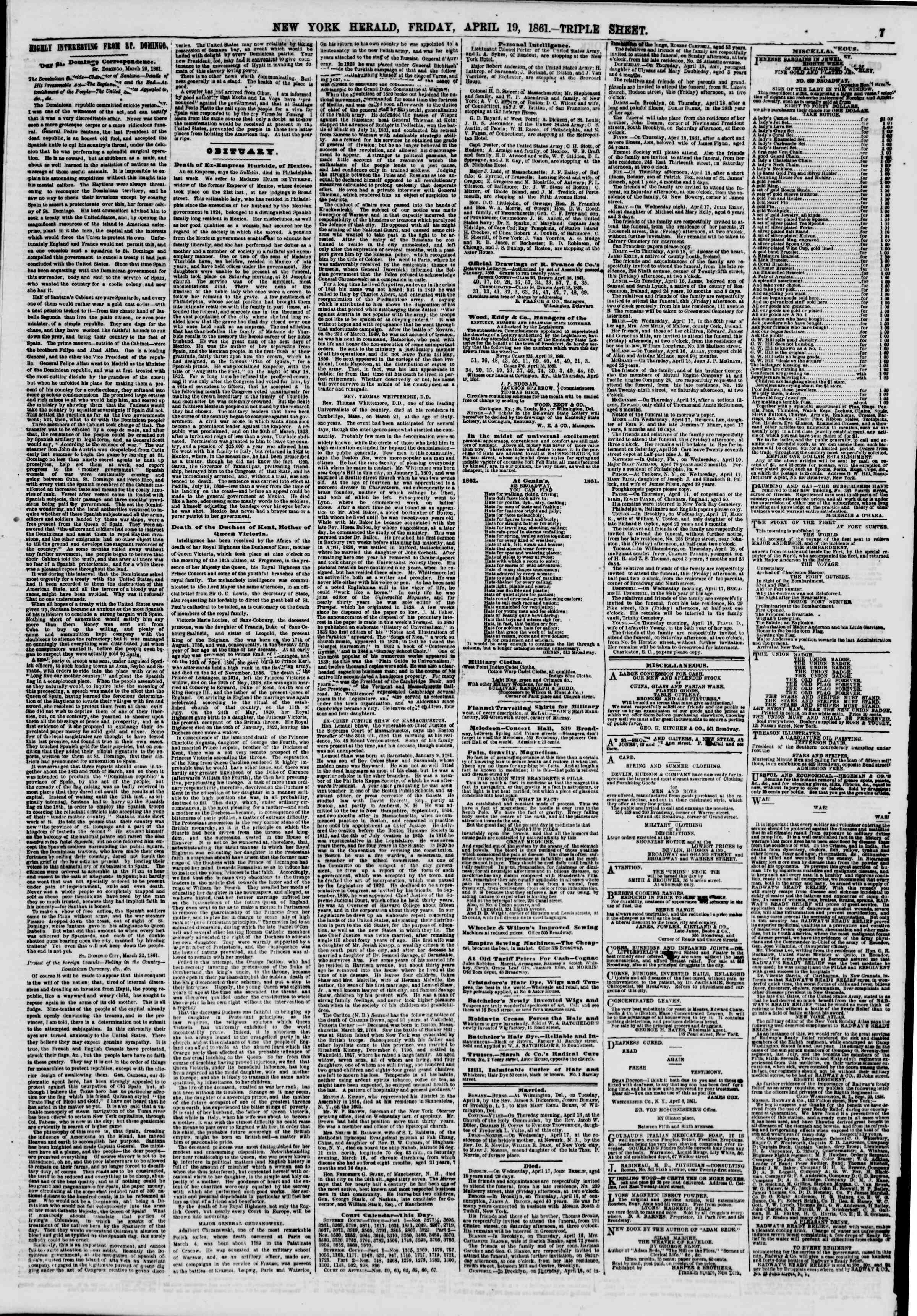 Newspaper of The New York Herald dated April 19, 1861 Page 7